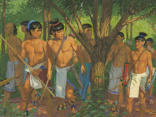 Lamanites hiding in wilderness
