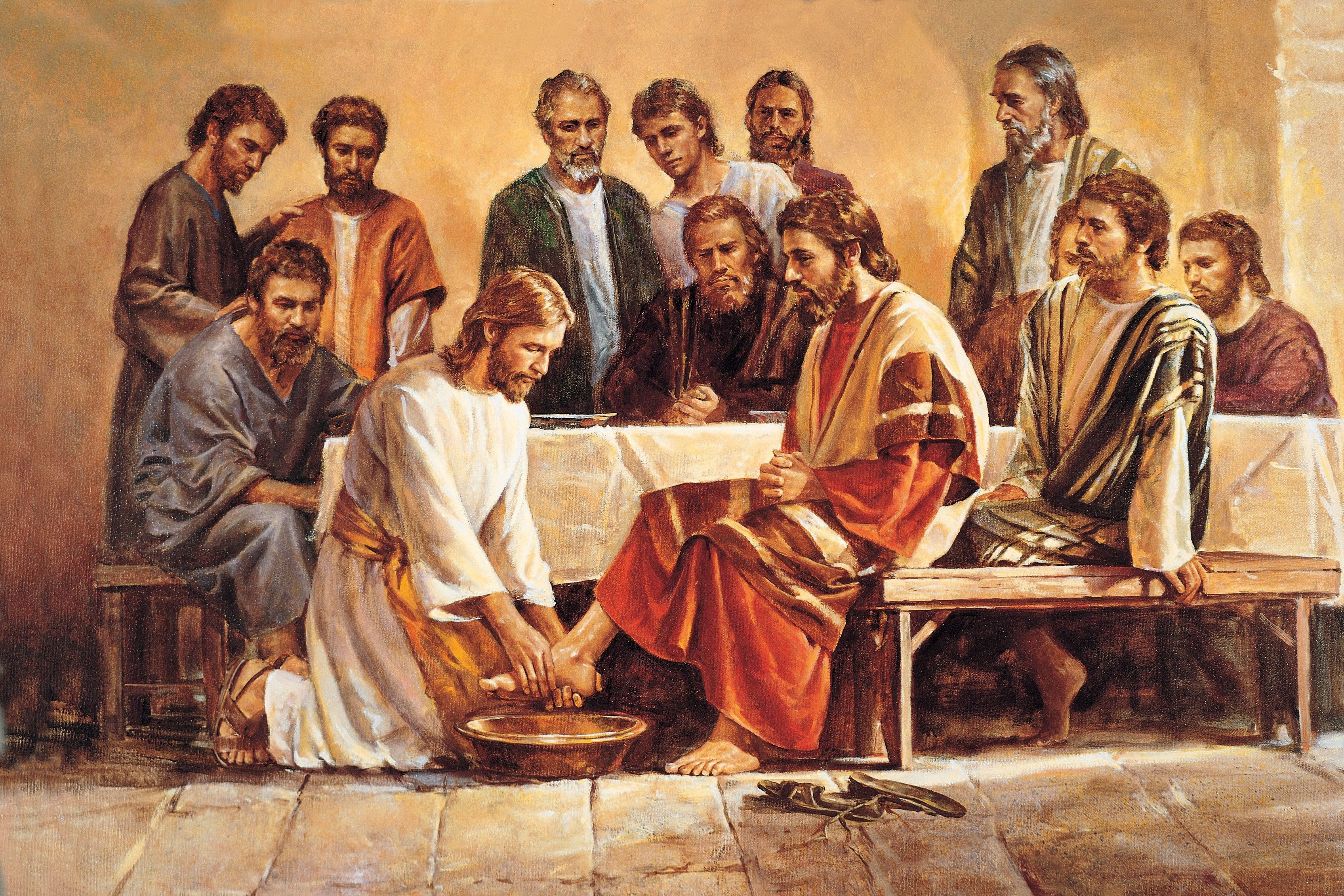 Jesus Washing the Apostles' Feet (Jesus Washing the Feet of the Apostles), by Del Parson (62550); GAK 226; GAB 55; Primary manual 2-60; Primary manual 6-26; John 13:4–15; Joseph Smith Translation, John 13:8–10 (in the Bible appendix)