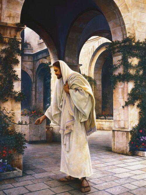 Cristo alimenta a unos pajaritos en un patio