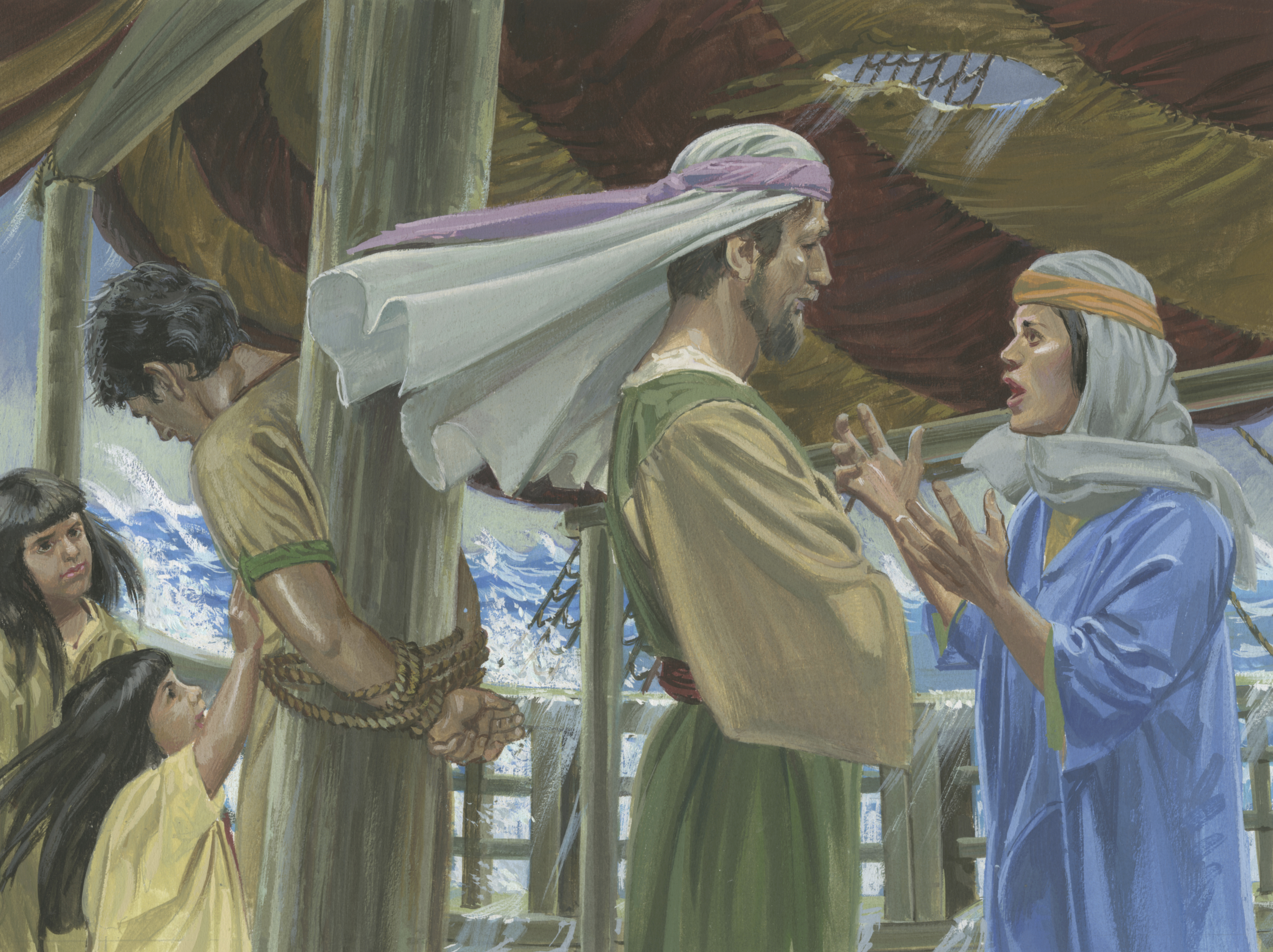A painting by Jerry Thompson depicting Nephi tied up on the ship; Primary manual 4-19