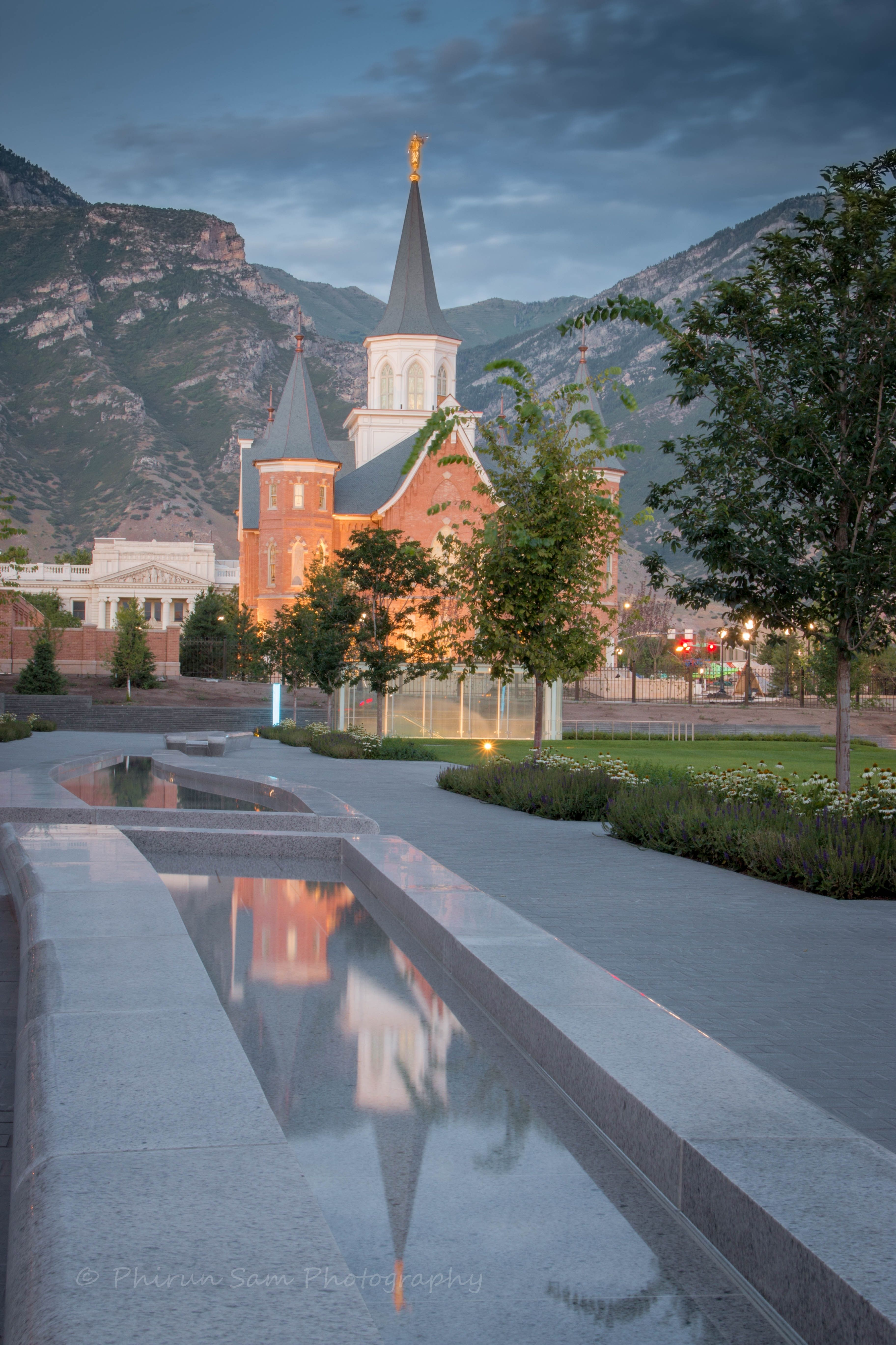 Reflecting pools and trees outside the Provo City Center Temple.