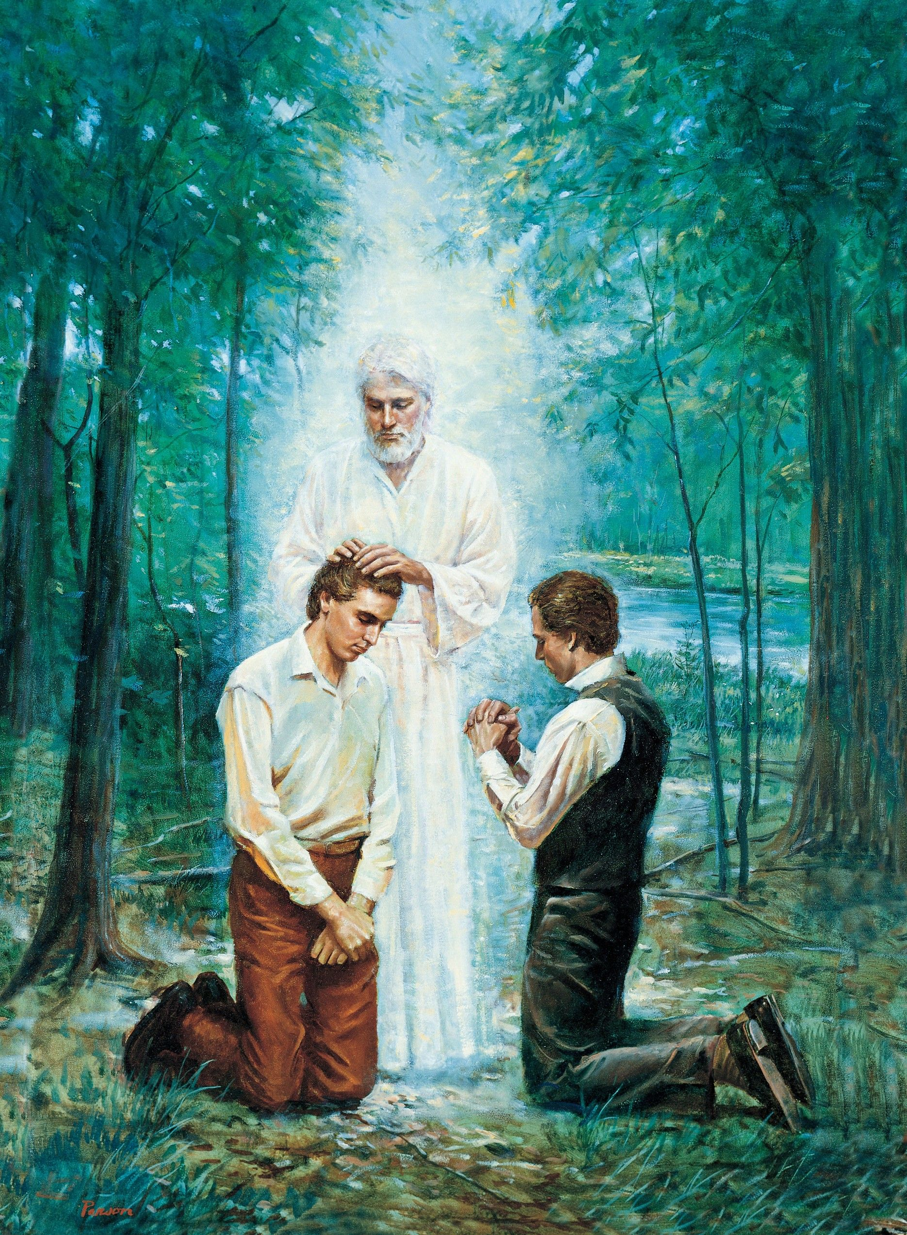 John the Baptist Conferring the Aaronic Priesthood (The Restoration of the Aaronic Priesthood), by Del Parson (62013); GAK 407; GAB 93; Primary manual 3-11; Primary manual 5-15; Primary manual 6-52; Doctrine and Covenants 13; Joseph Smith—History 1:68–73