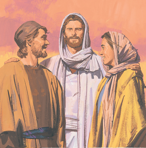 Jesus standing with man and woman