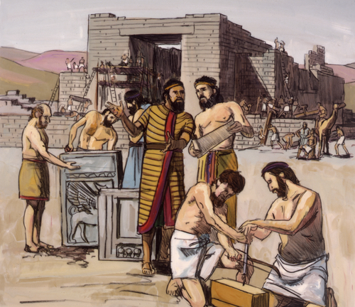 Solomon's people building temple