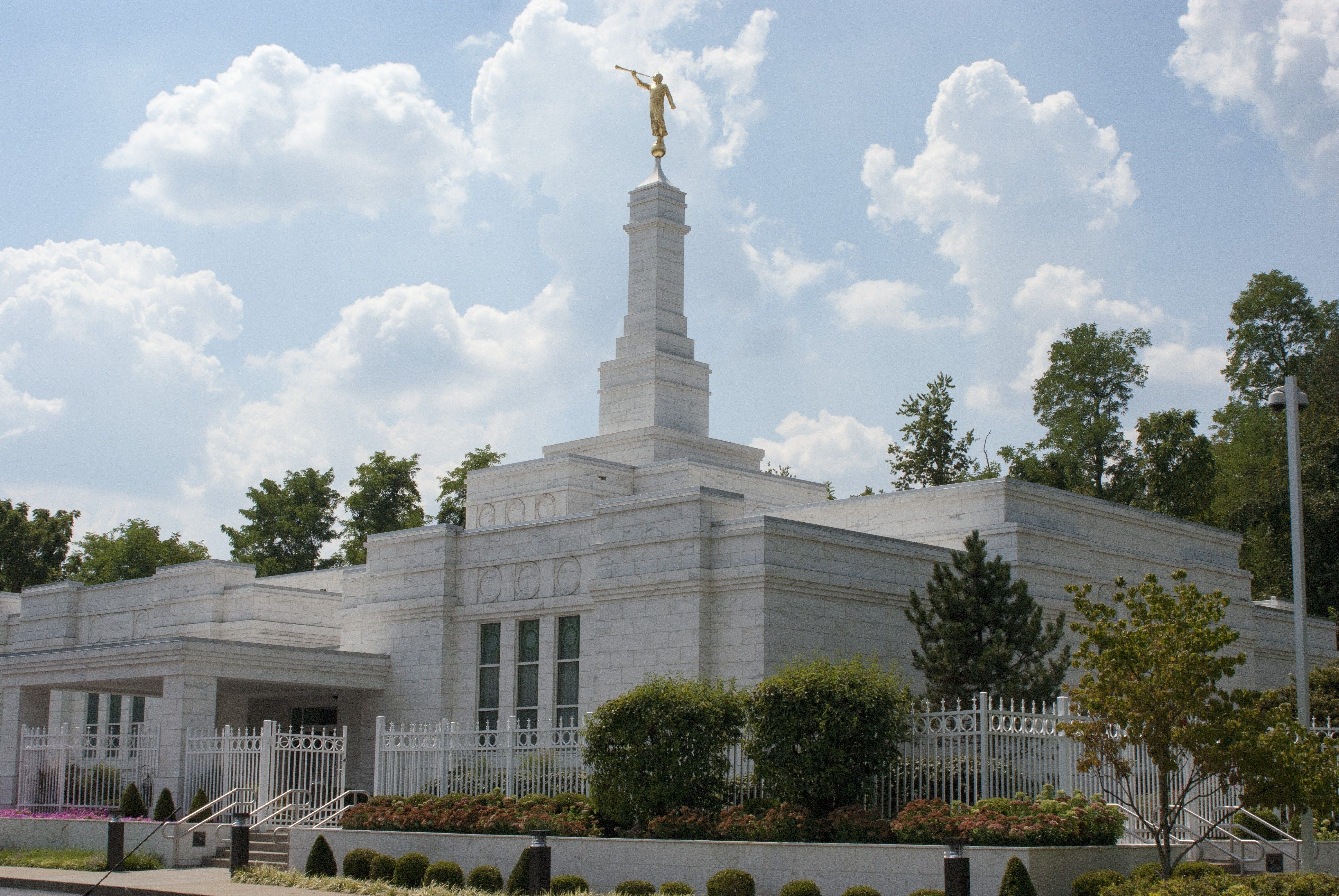 The Louisville Kentucky Temple entrance, including scenery.