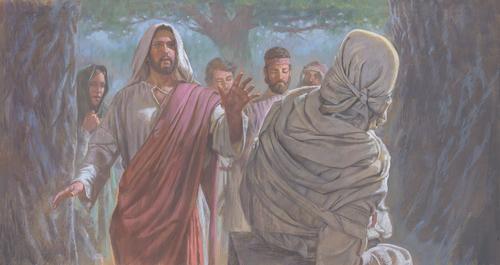 Lazarus walking toward Jesus