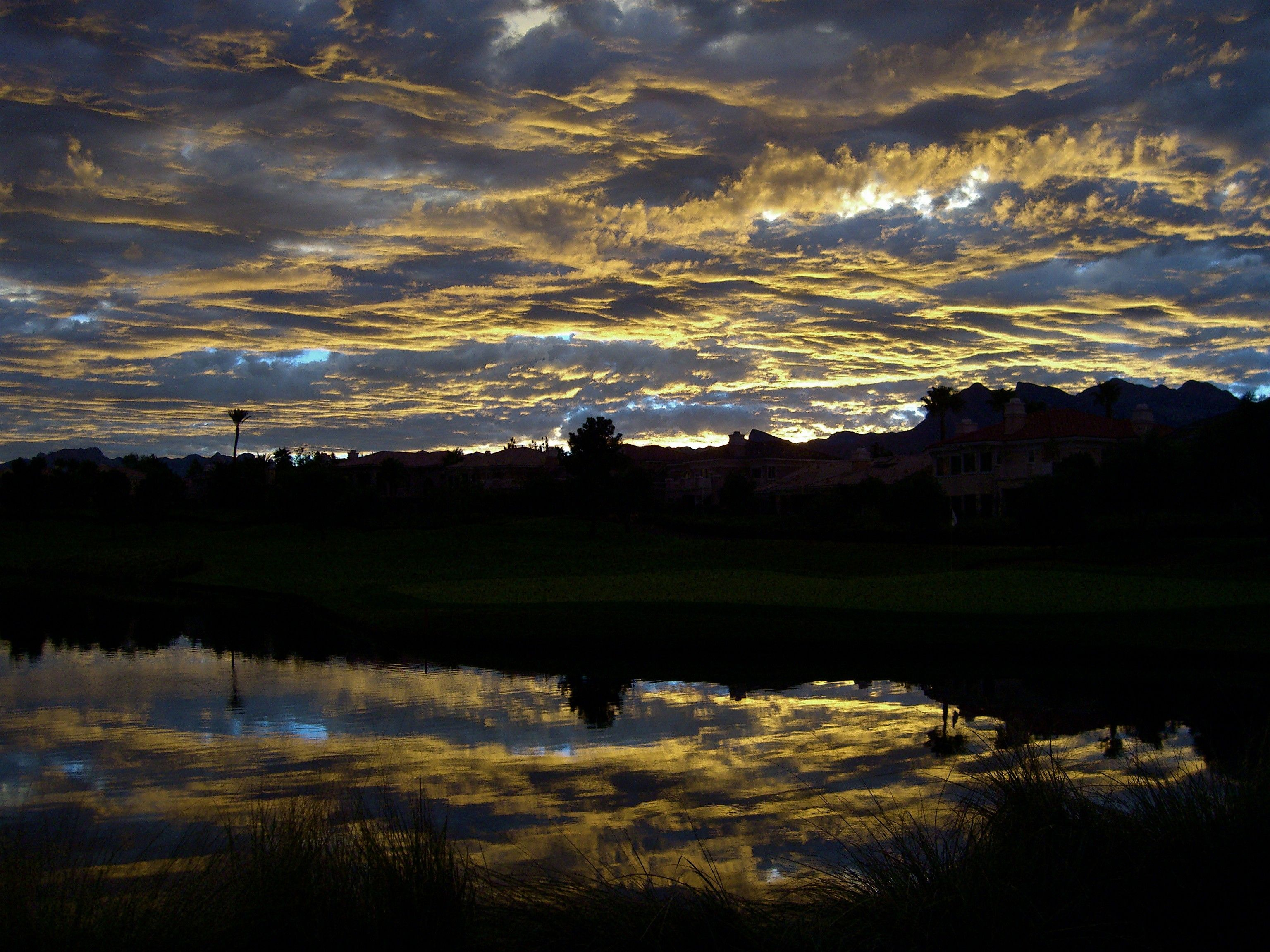 Clouds in the sky are reflected in a pond just after the sunset.