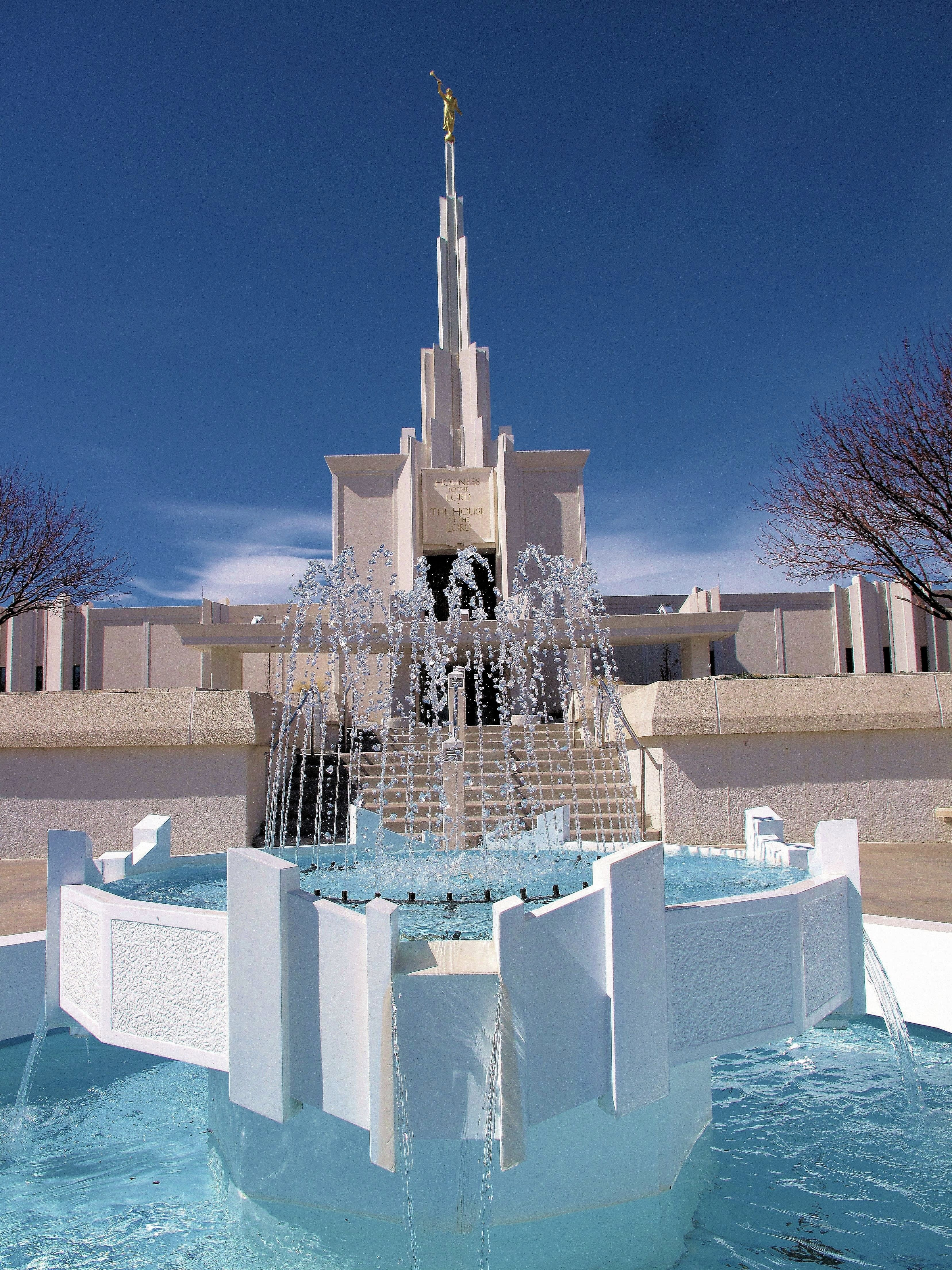 A fountain at the bottom of the stairs that lead up to the entrance of the Denver Colorado Temple.