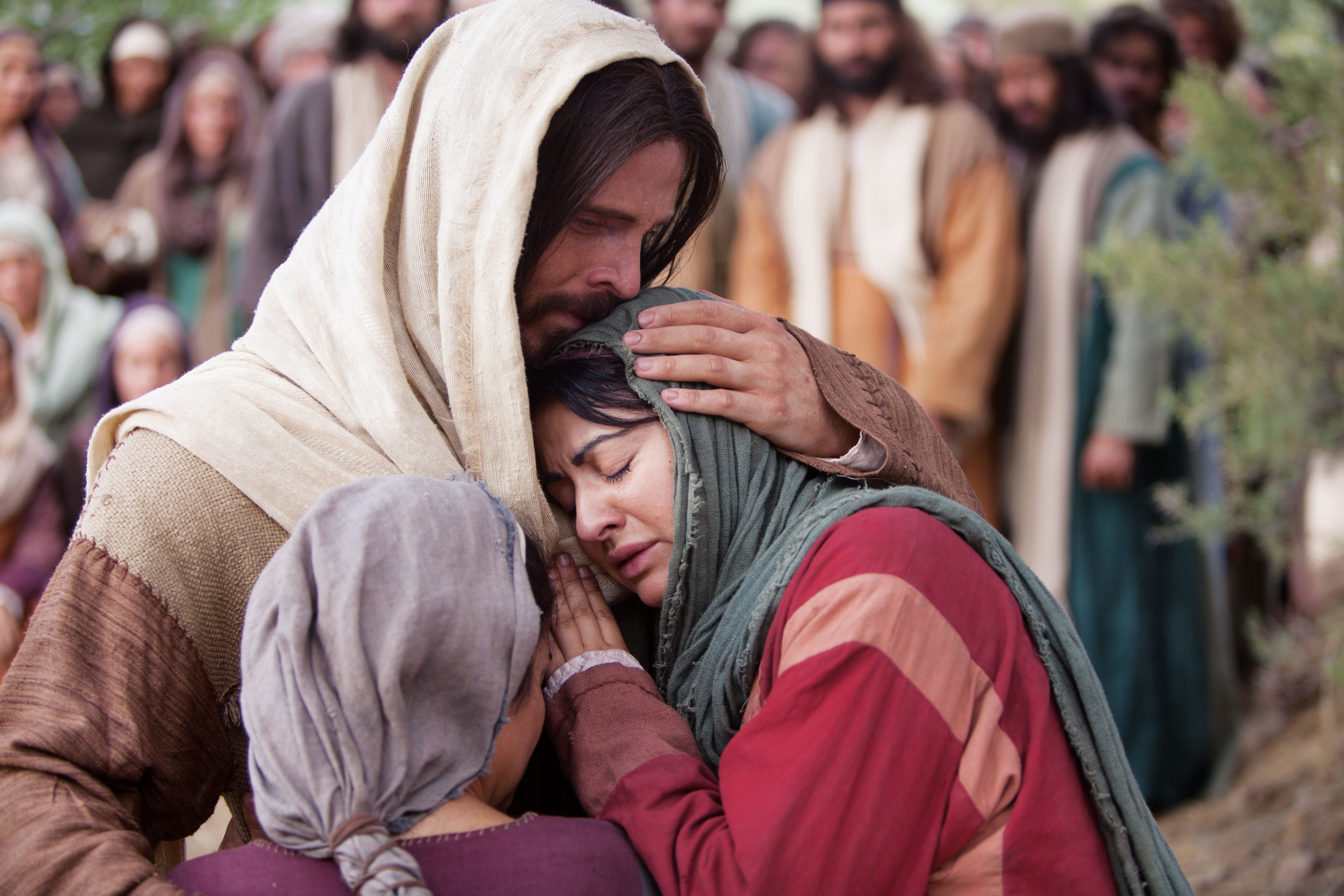 Christ comforting Mary and Martha after the death of their brother Lazarus.