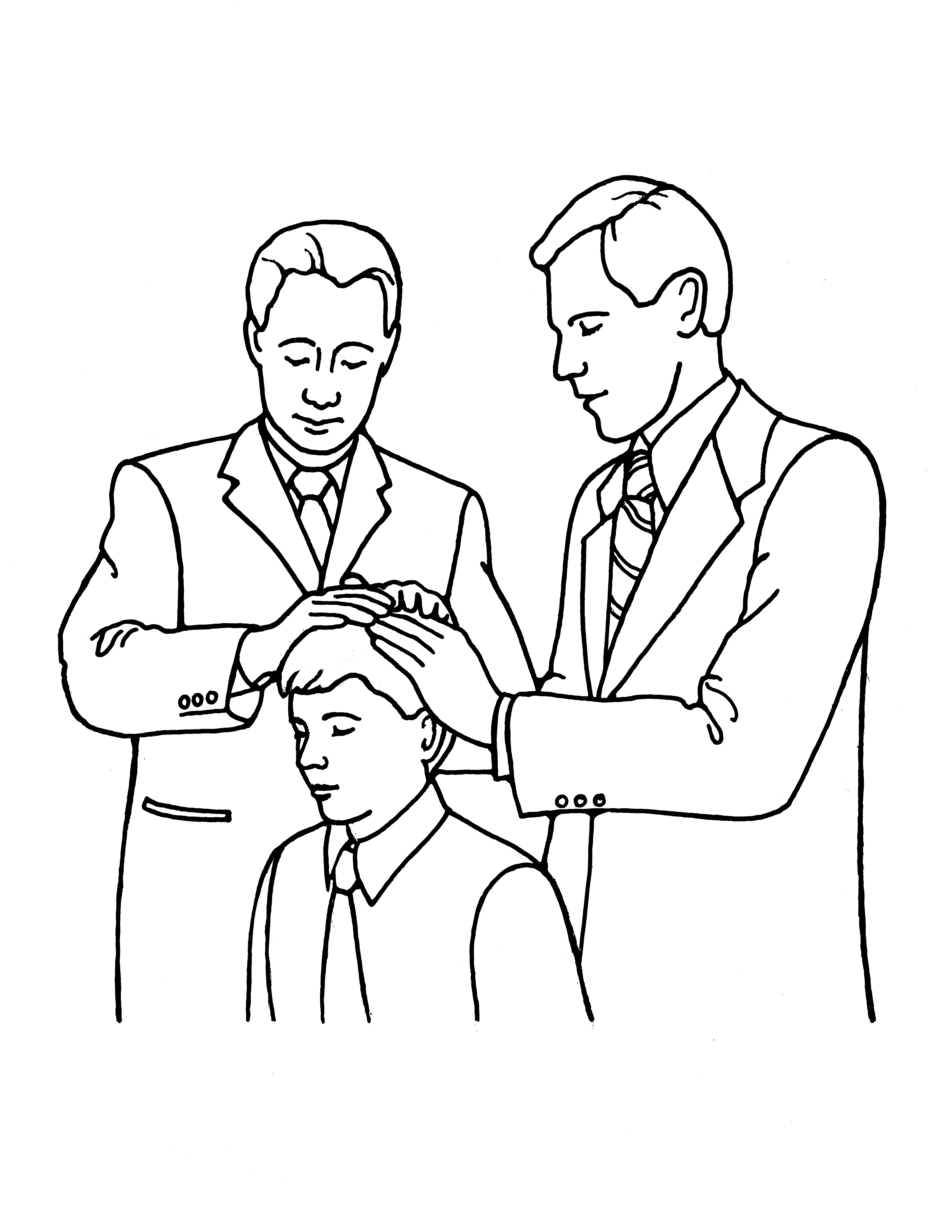 An illustration of a young man receiving the Melchizedek Priesthood.