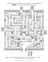 Line drawing of a maze with trees, bushes, children, photographs, ancestors, and more.