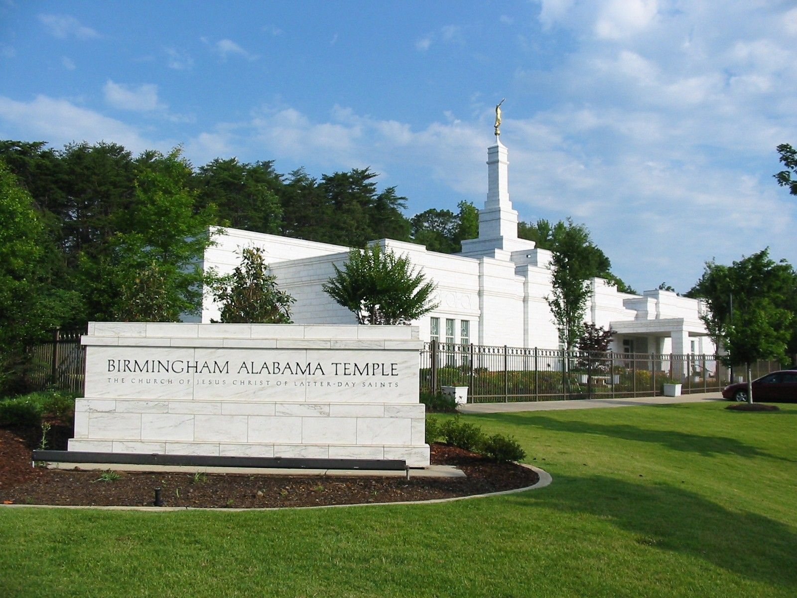 The temple name sign on the grounds of the Birmingham Alabama Temple.