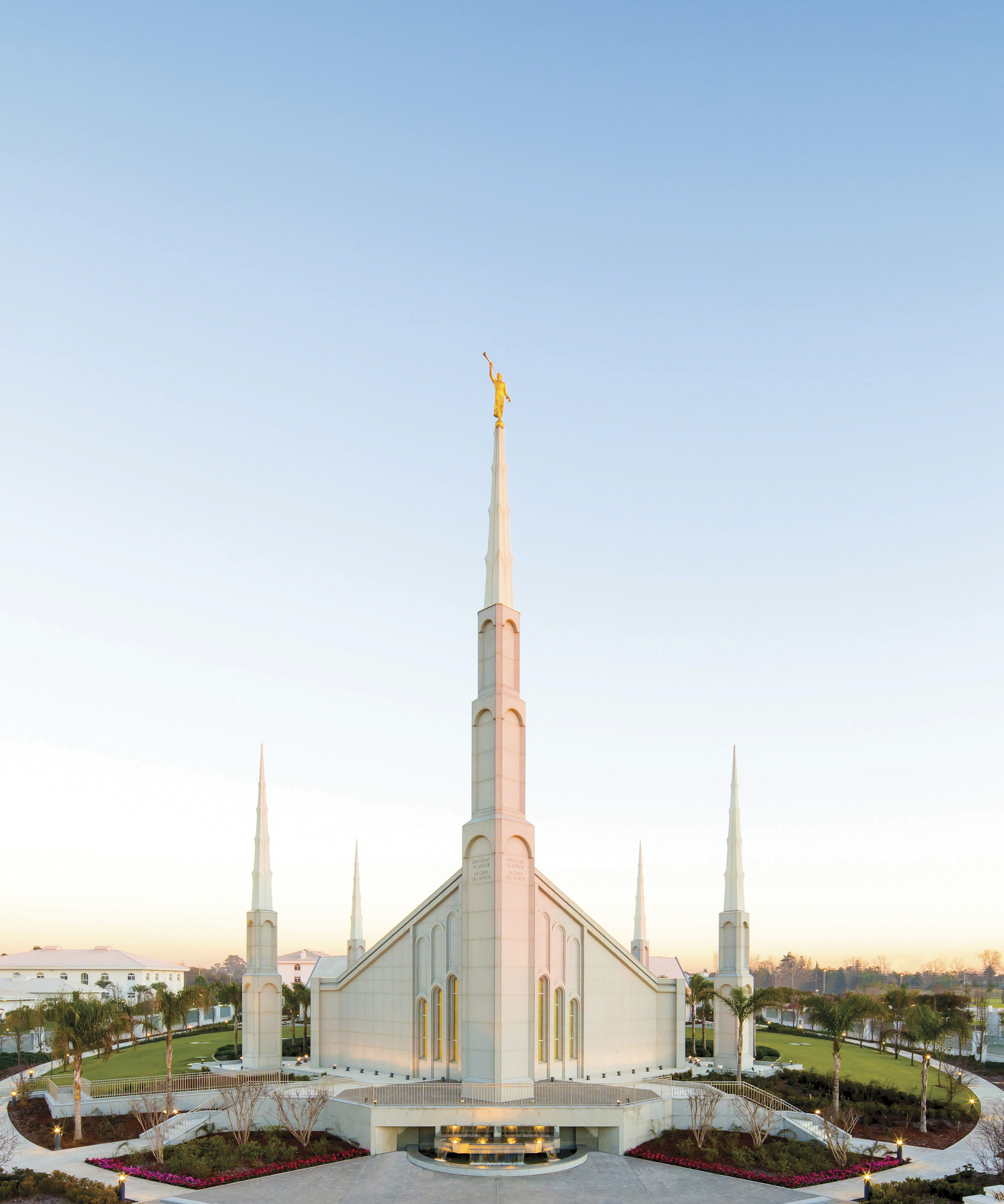 An exterior portrait view of the Buenos Aires Argentina Temple.