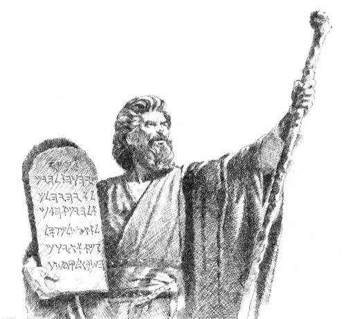 Moses with Ten Commandments and staff