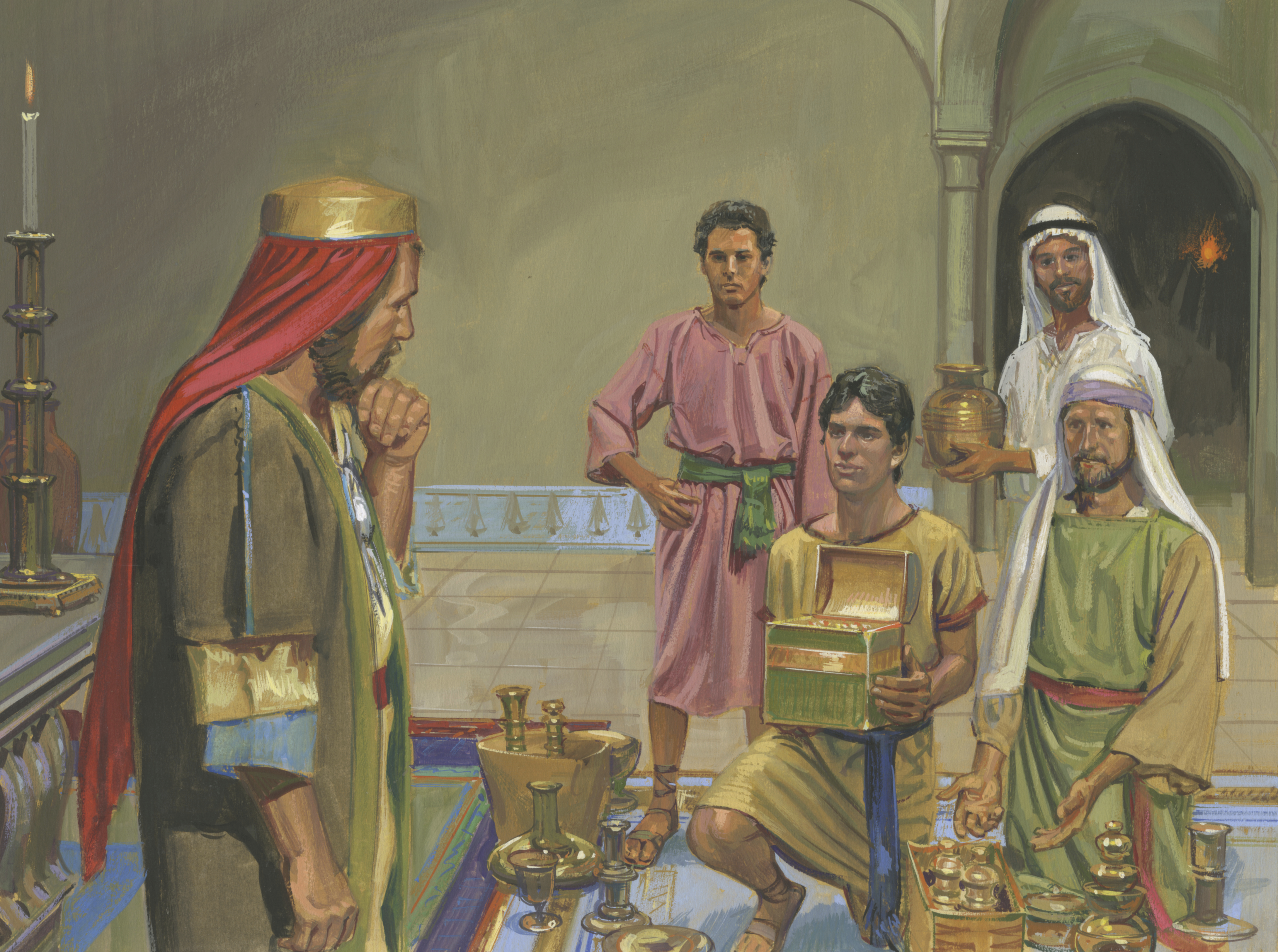 A painting by Jerry Thompson depicting Lehi's sons offering riches to Laban; Primary manual 4-6