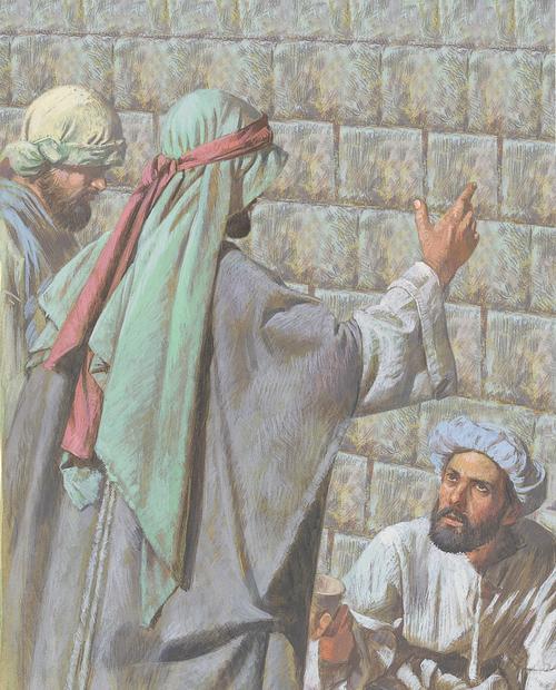 Apostles talking to man