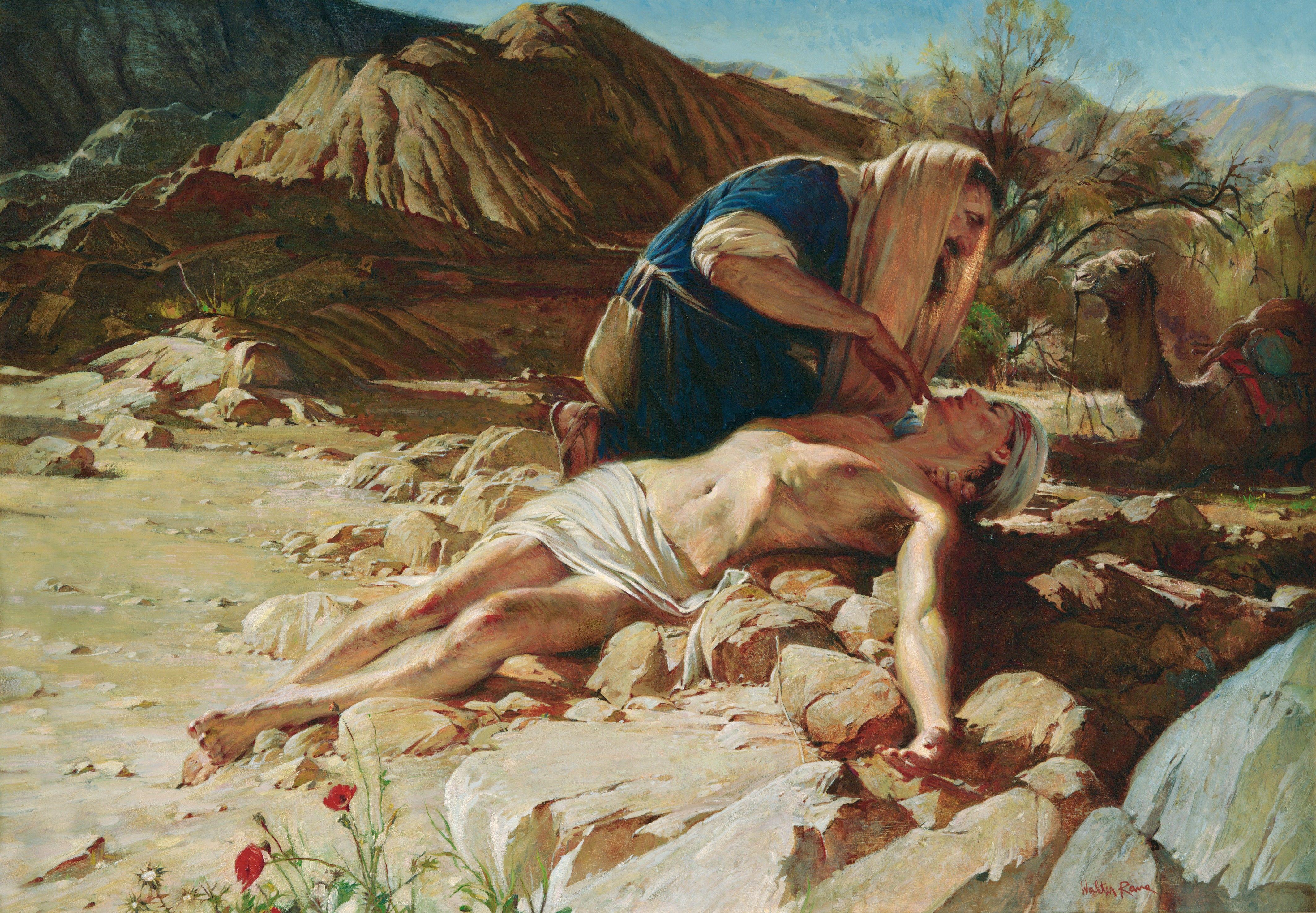 The Good Samaritan, by Walter Rane (62156); GAK 218; GAB 44; nursery manual lesson 18, page 78; Luke 10:25–37