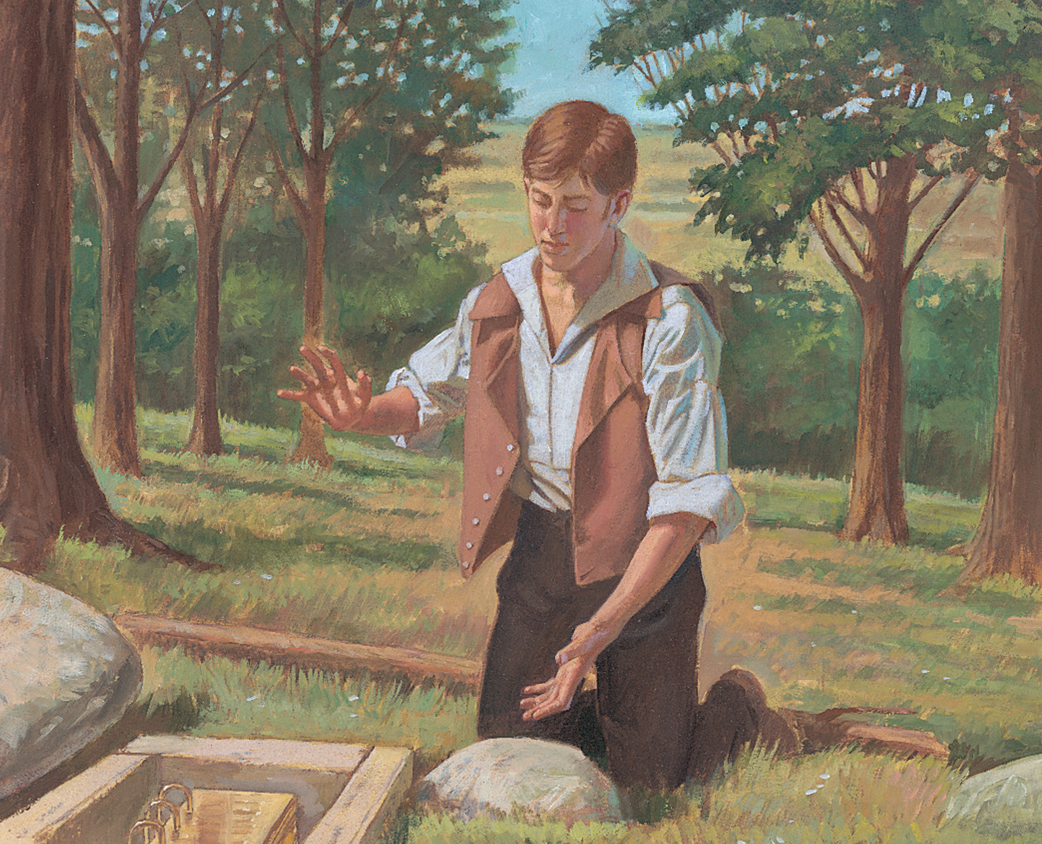 Joseph looking at gold plates
