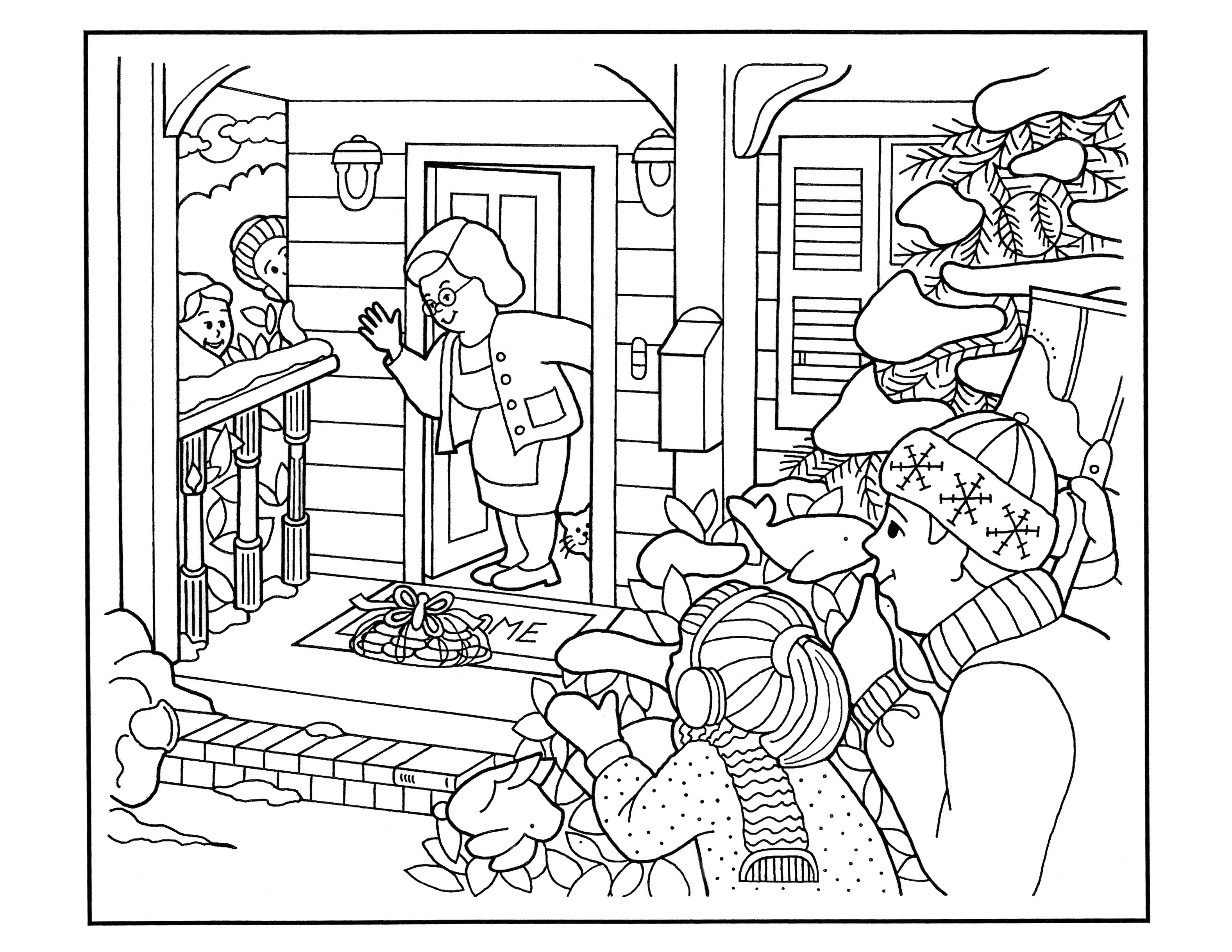 A coloring page of an elderly woman finding cookies on her porch.