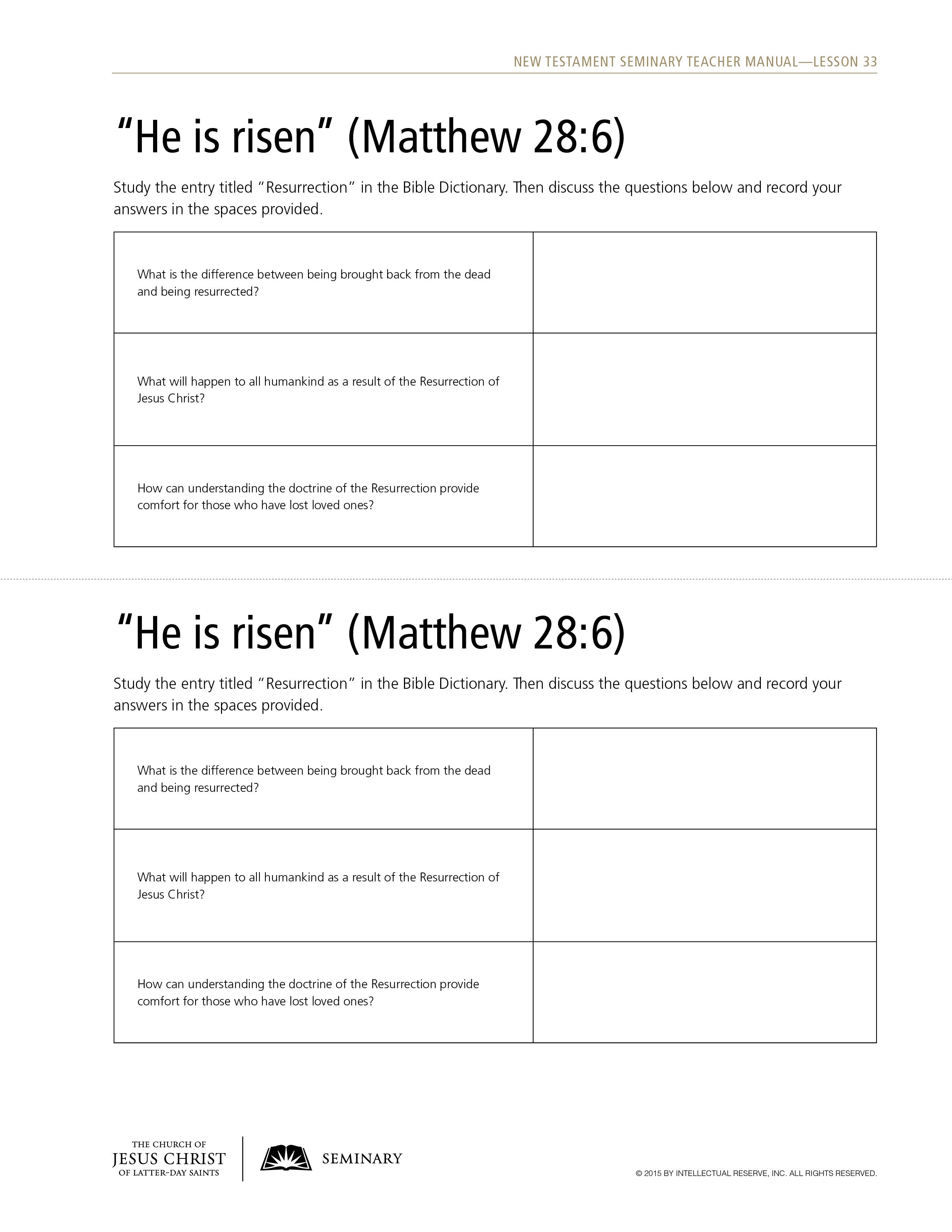Lesson 33: Matthew 27:51–28:20