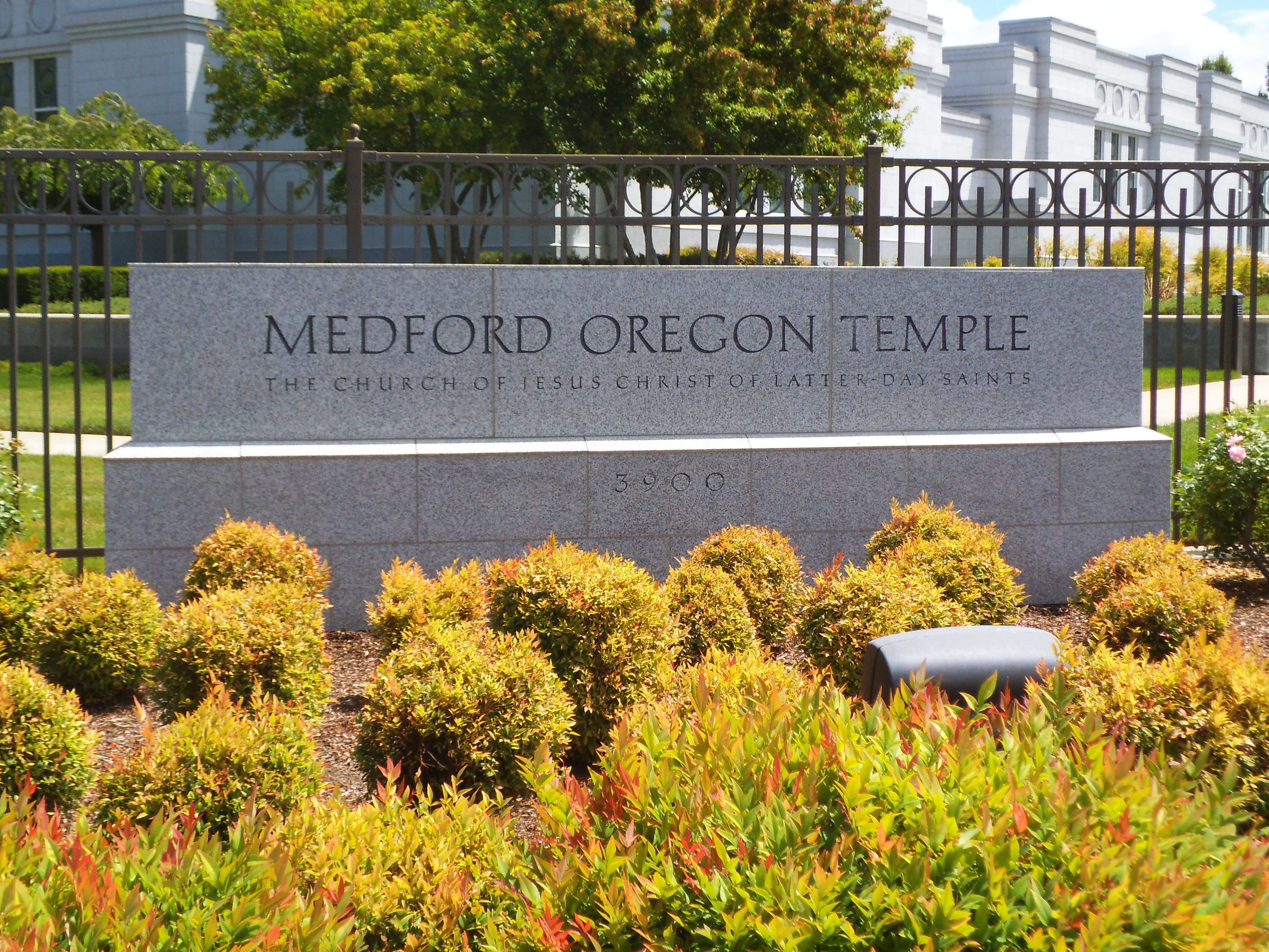 The Medford Oregon Temple name sign, including scenery.