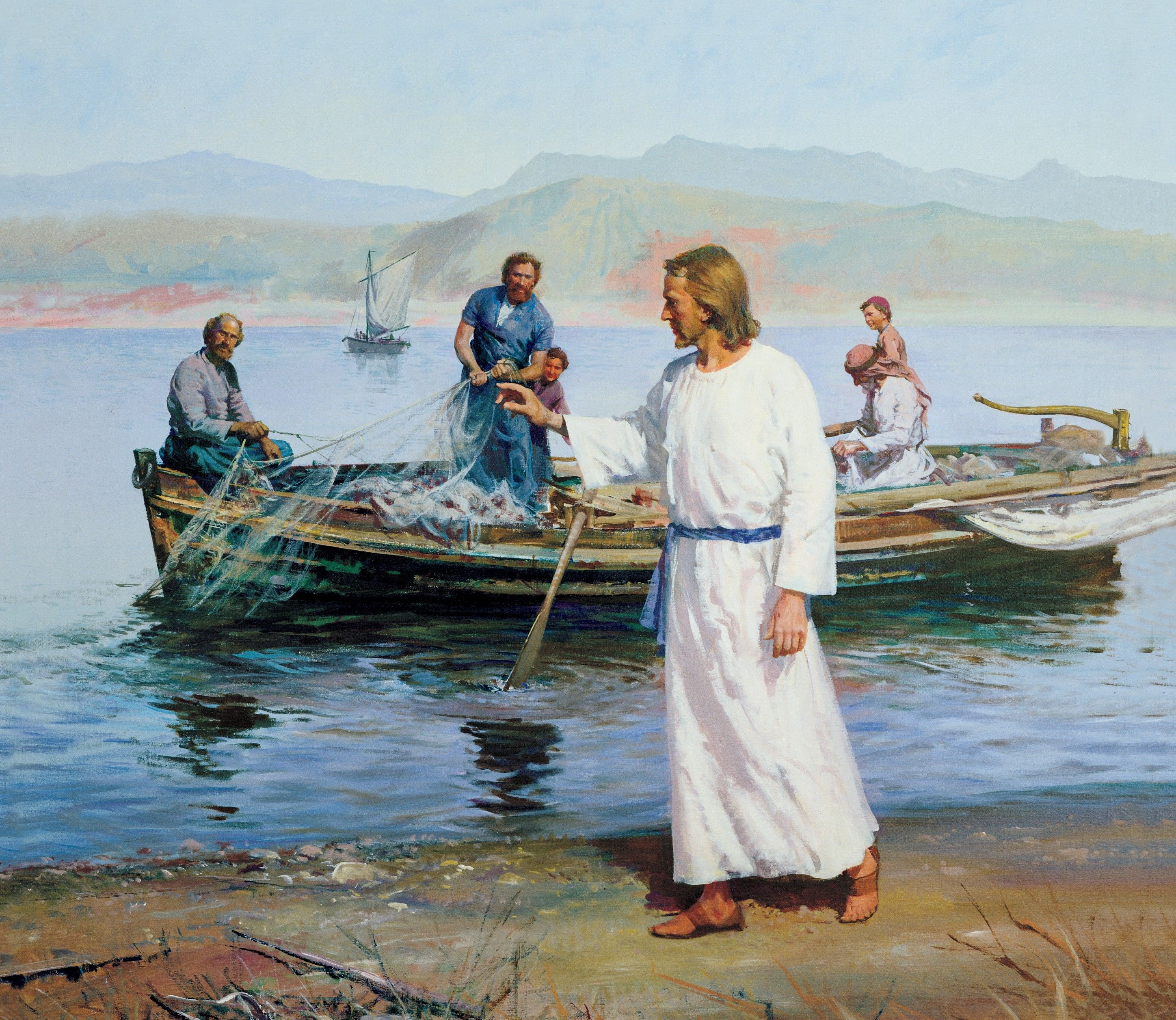 Calling of the Fishermen (Christ Calling Peter and Andrew), by Harry Anderson (62496); GAK 209; GAB 37; Primary manual 2-24; Primary manual 7-10; Matthew 4:18–22; Mark 1:16–20