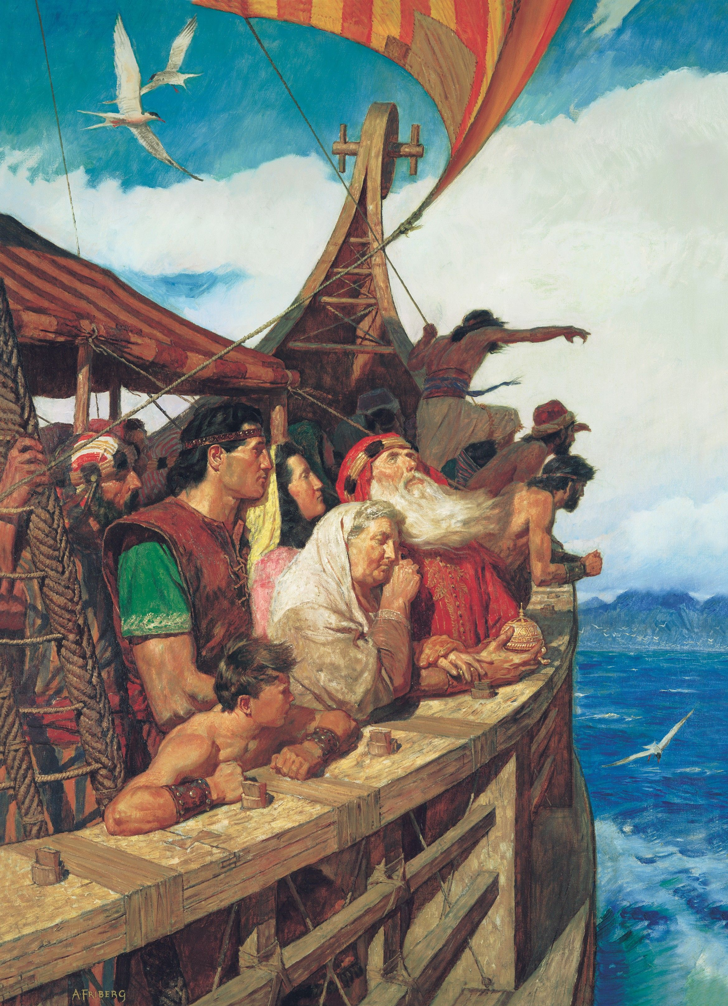 Lehi and His People Arrive in the Promised Land, by Arnold Friberg (62045); GAK 304; GAB 71; Primary manual 1-60; Primary manual 3-45; Primary manual 4-20; 1 Nephi 18:1–24