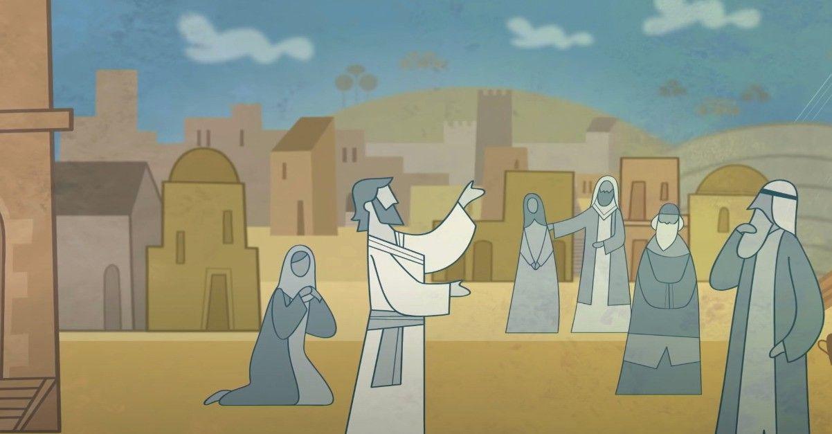 Jesucristo enseña con sus discípulos en la ciudad de Jerusalén