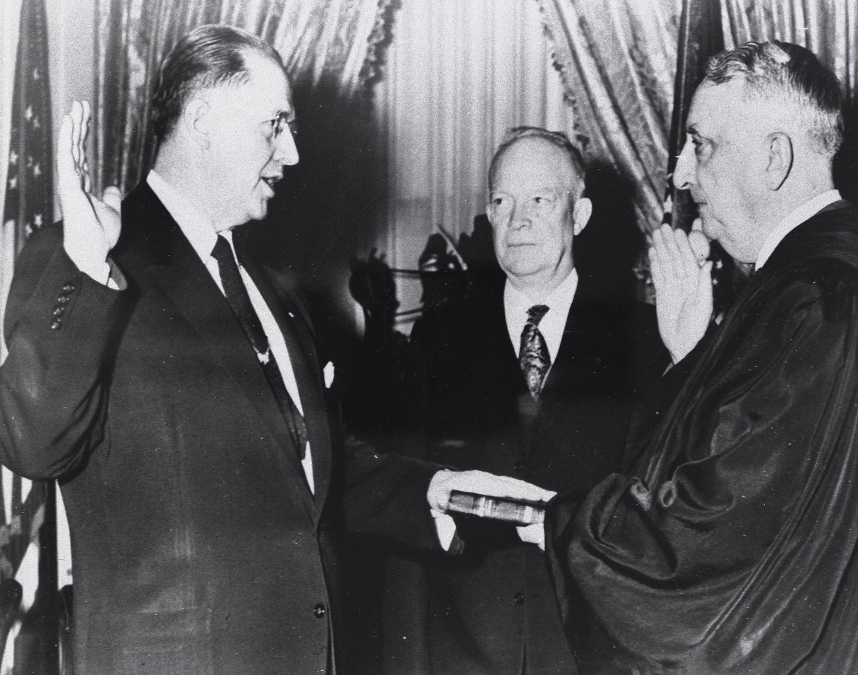 Ezra Taft Benson being sworn in as United States secretary of agriculture. Teachings of Presidents of the Church: Ezra Taft Benson (2014), 25