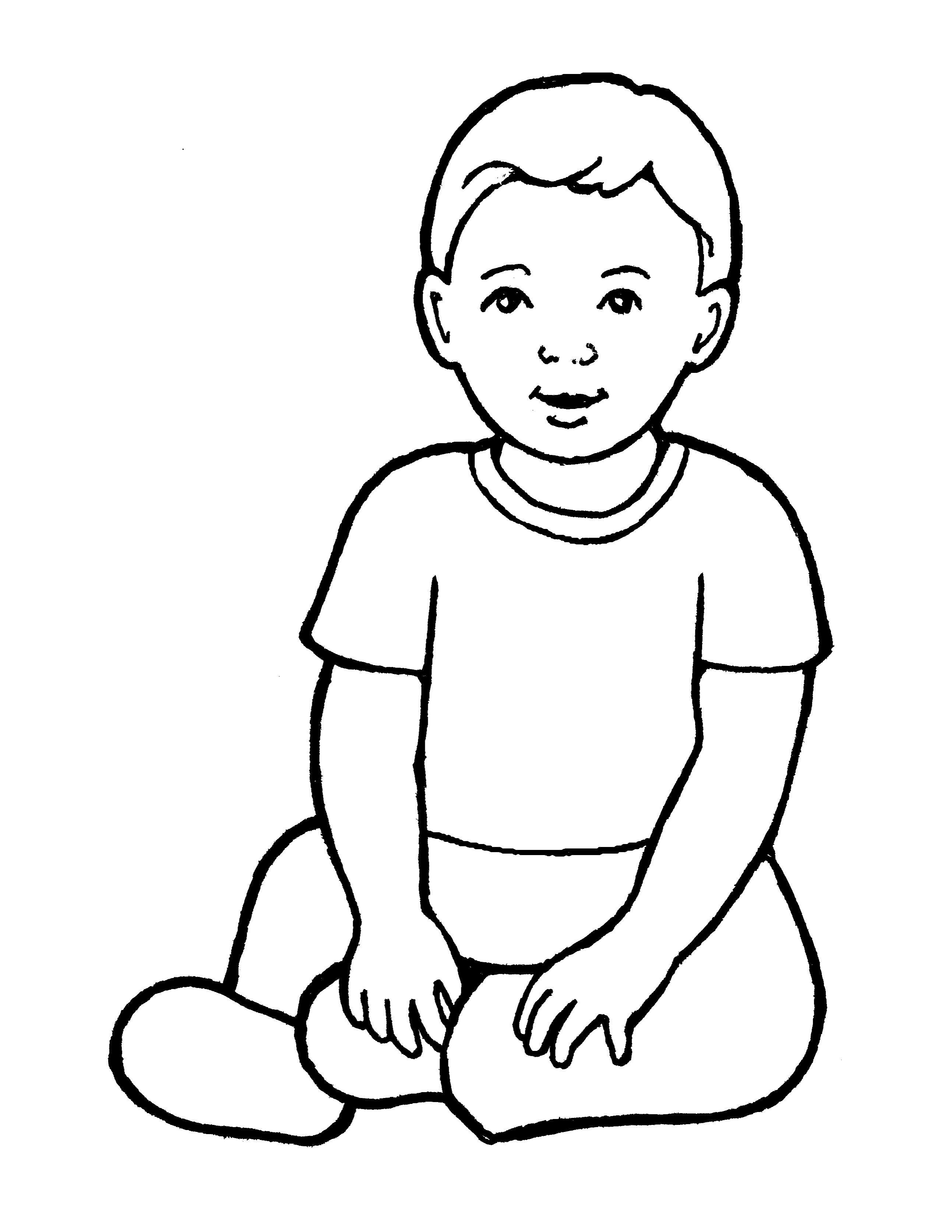 An illustration of a baby boy from the nursery manual Behold Your Little Ones (2008), page 59.