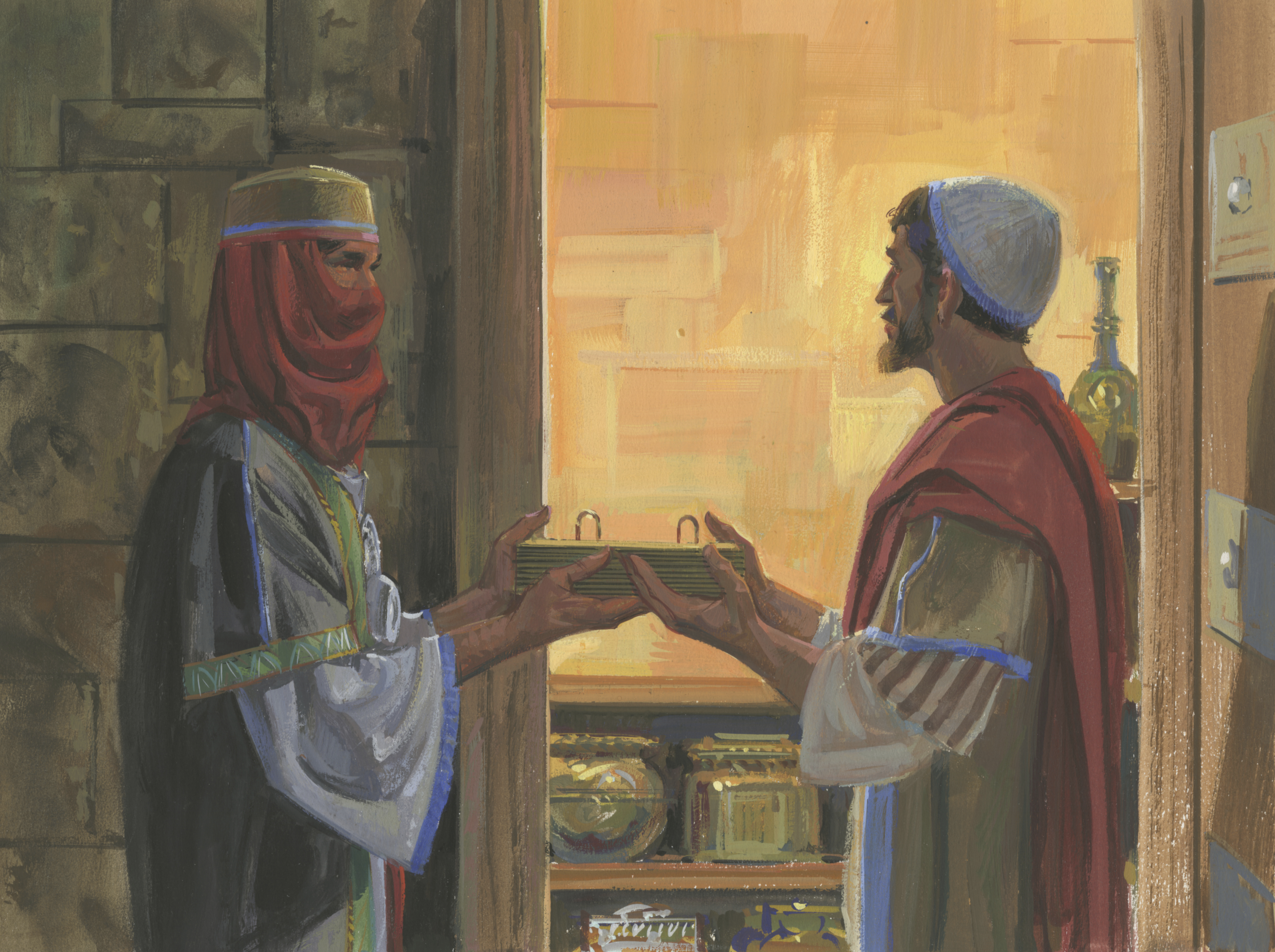 A painting by Jerry Thompson depicting Nephi and Zoram talking; Primary manual 3-43