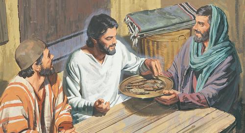Apostles giving Jesus food