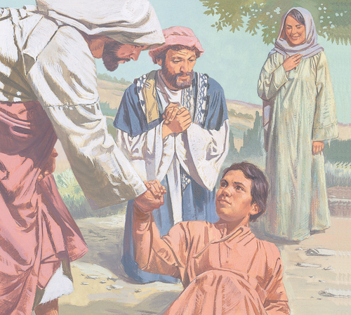 Jesus helping boy stand