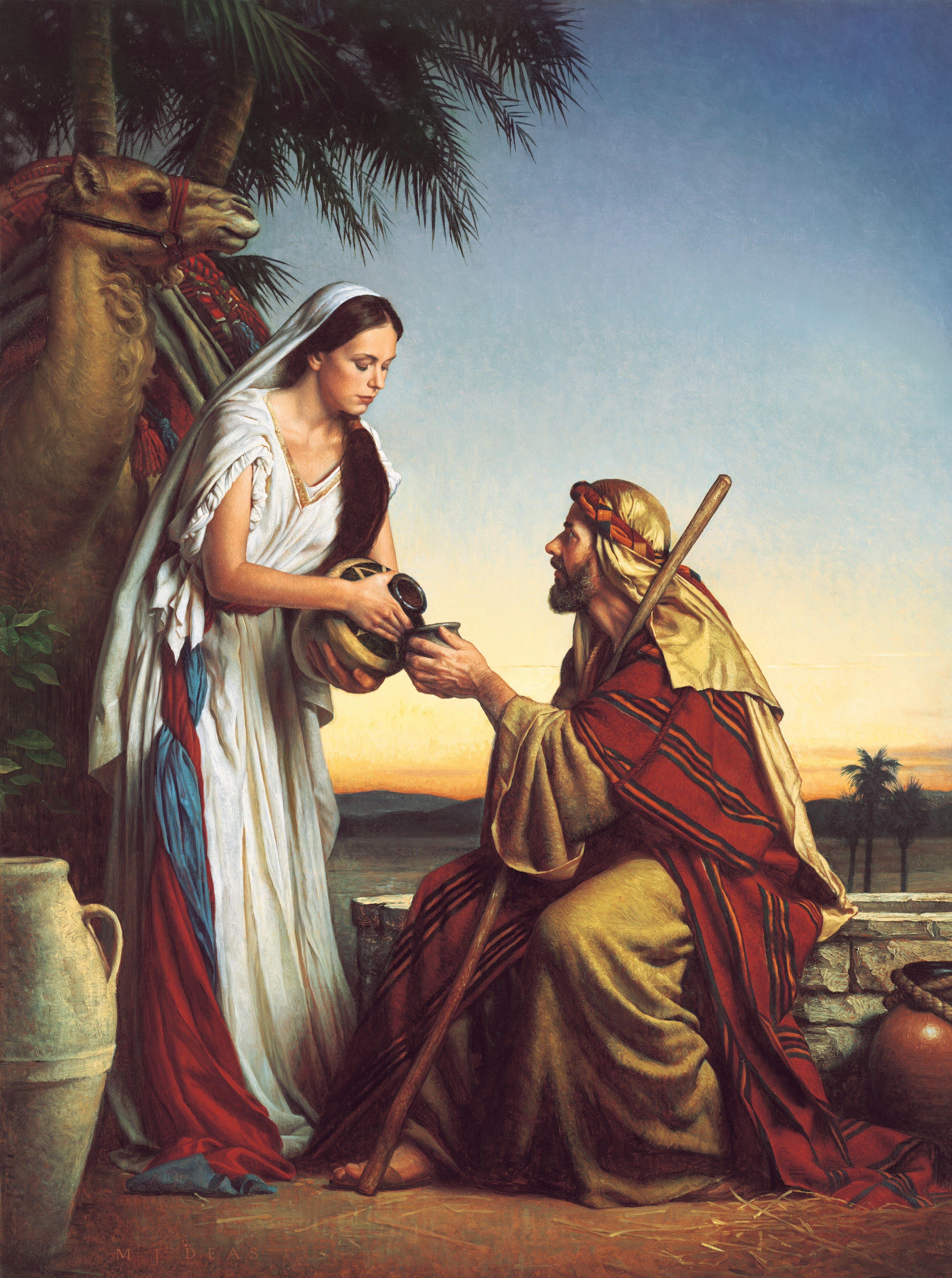 Rebekah at the Well, by Michael Deas (62160); GAK 121; GAB 10; Primary manual 6-15; Genesis 24:17–18