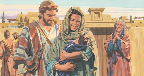 Anna seeing baby Jesus