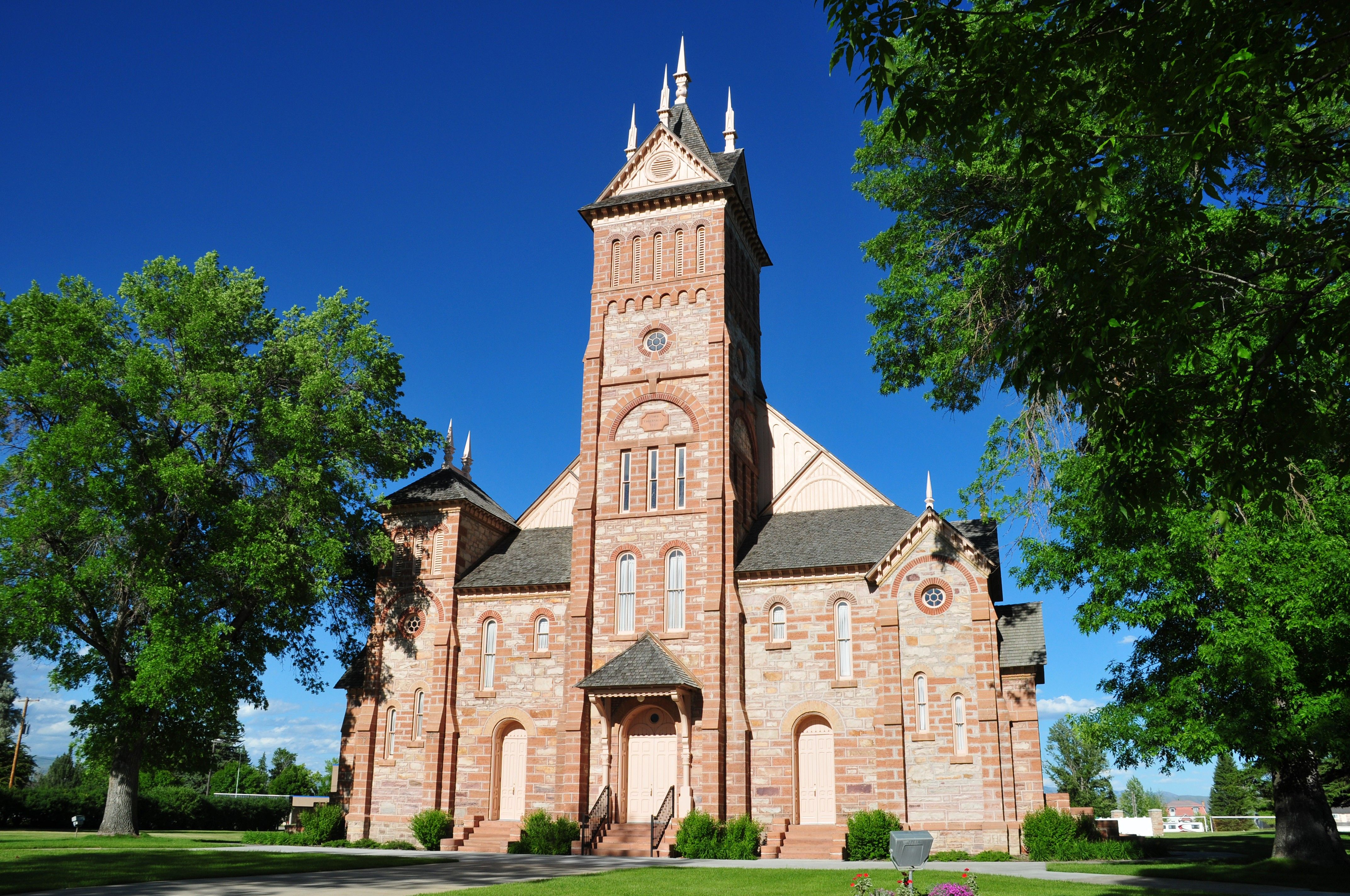 A front view of the historic Bear Lake Stake Tabernacle.