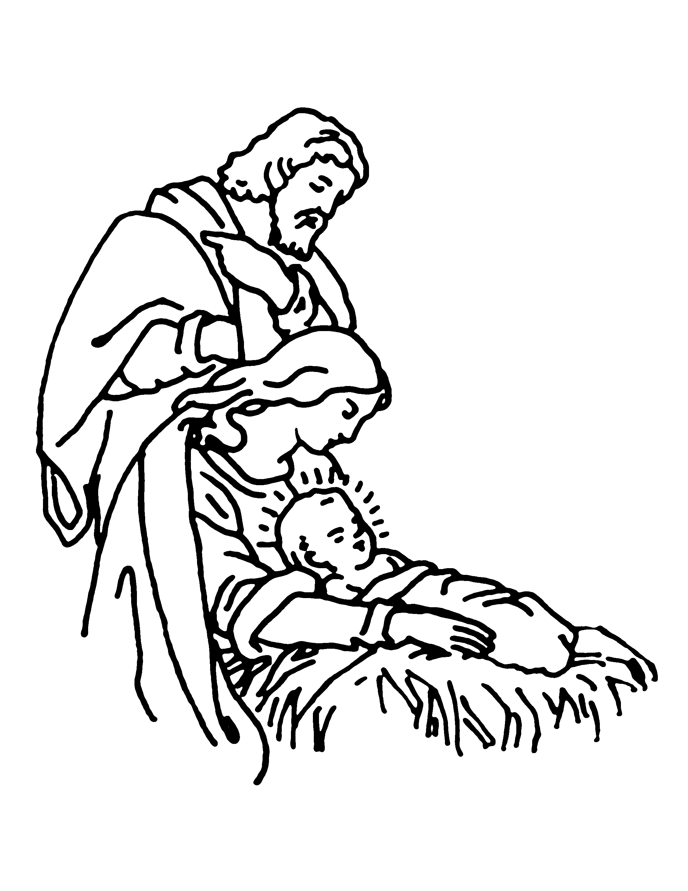 Line drawing of the Nativity showing Joseph, Mary and the baby Jesus.