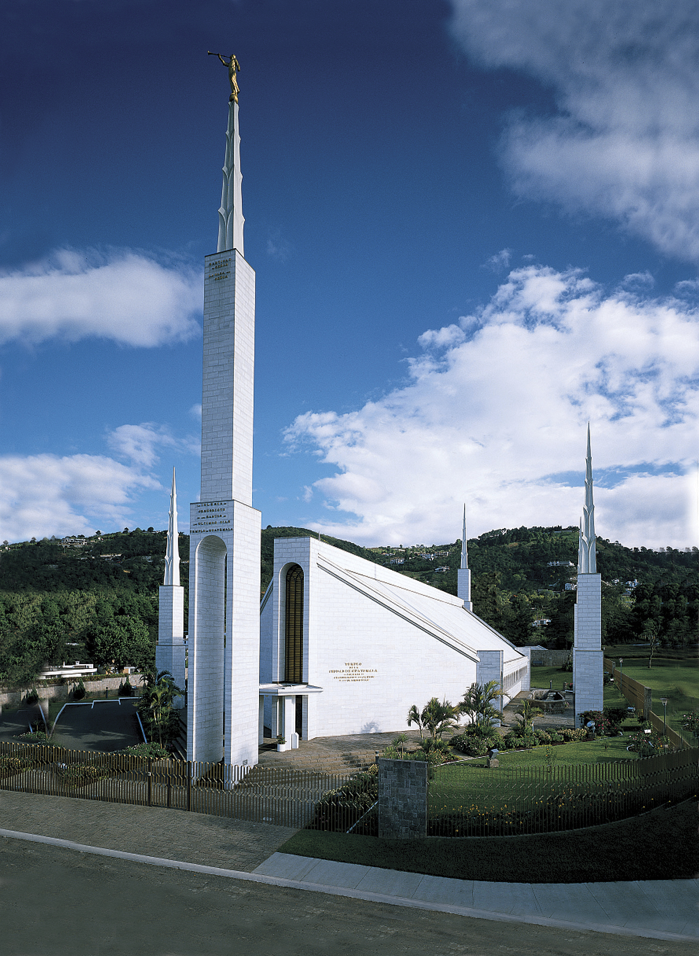 A view of the Guatemala City Guatemala Temple, including scenery.