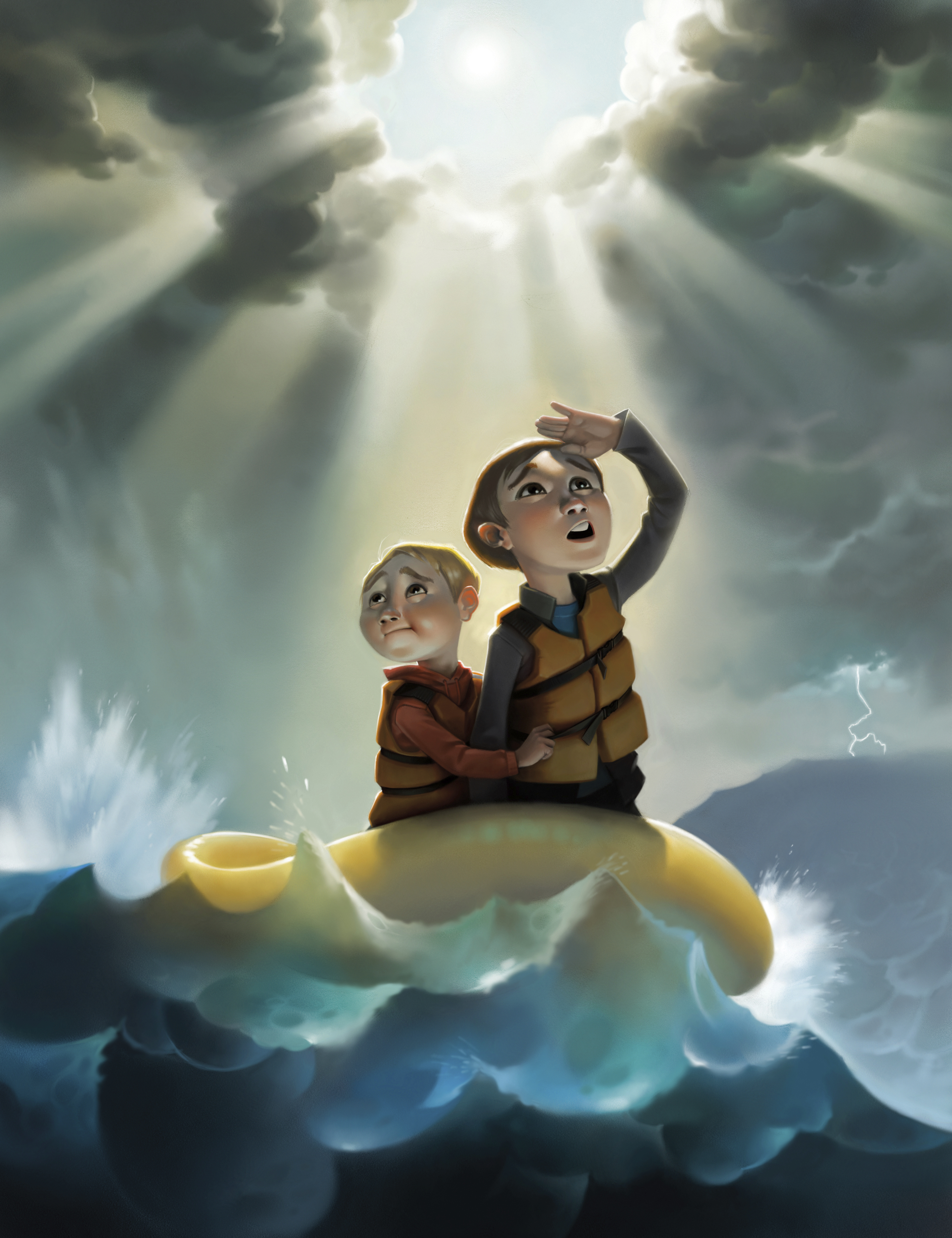 Two boys float in a raft during stormy weather on the sea.