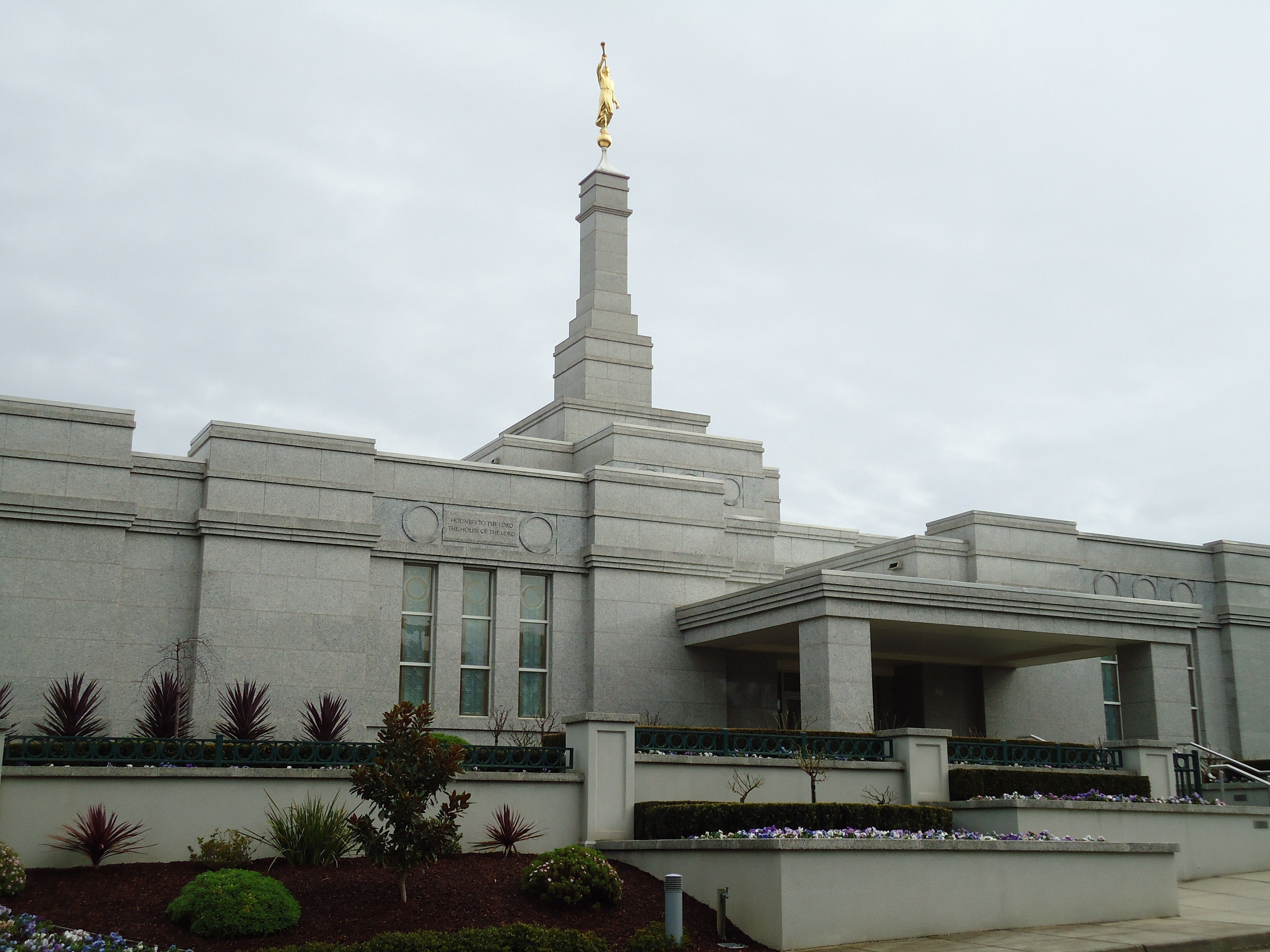 The Melbourne Australia Temple entrance, including scenery and the exterior of the temple.