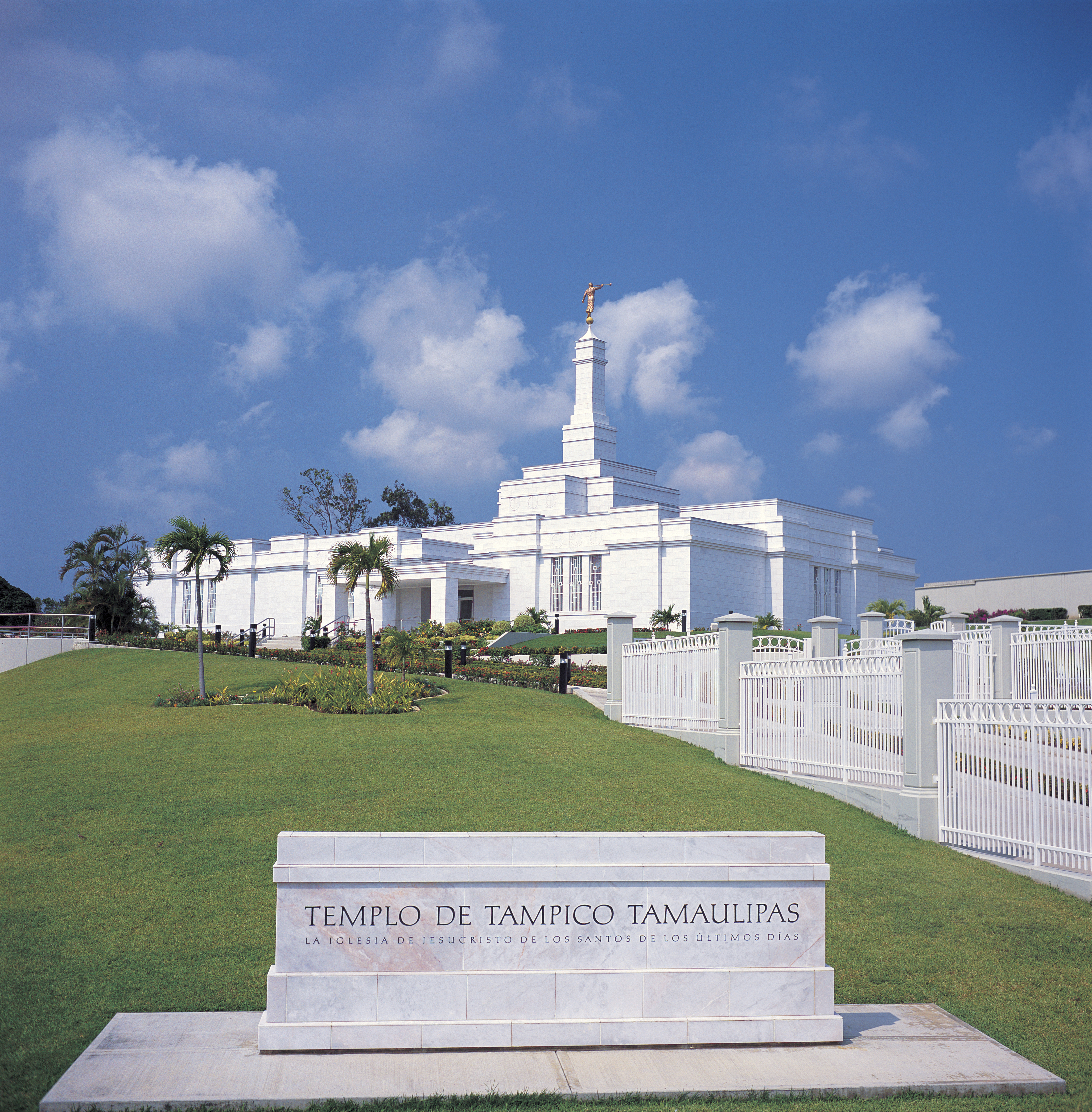 The Tampico Mexico Temple, including the name sign and scenery.