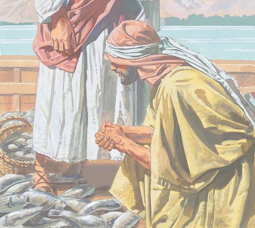 Peter kneeling in front of Jesus