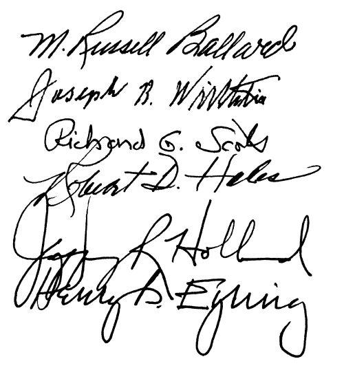 Quorum of the Twelve Apostles. 1995. Signatures
