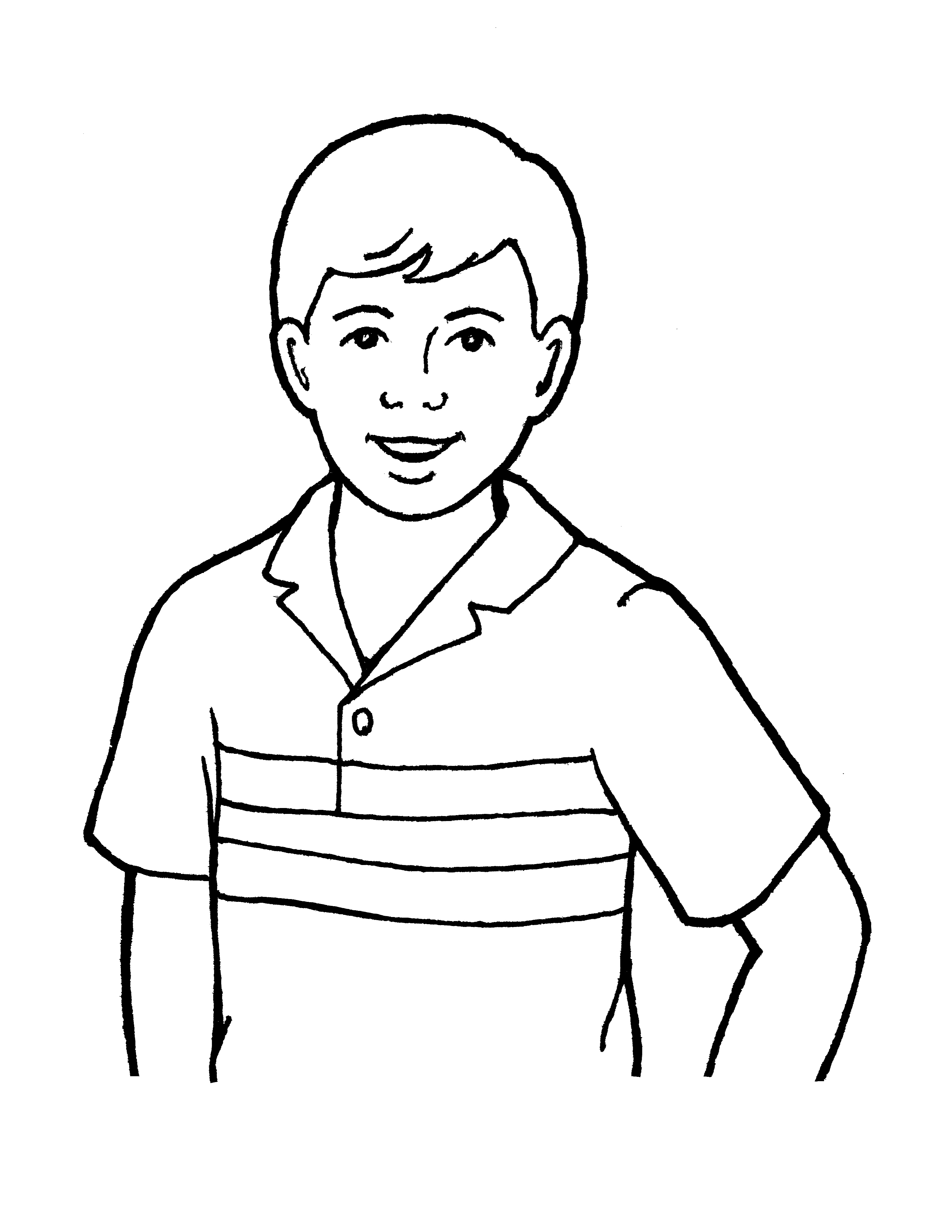An illustration of a boy or brother, from the nursery manual Behold Your Little Ones (2008), page 59.