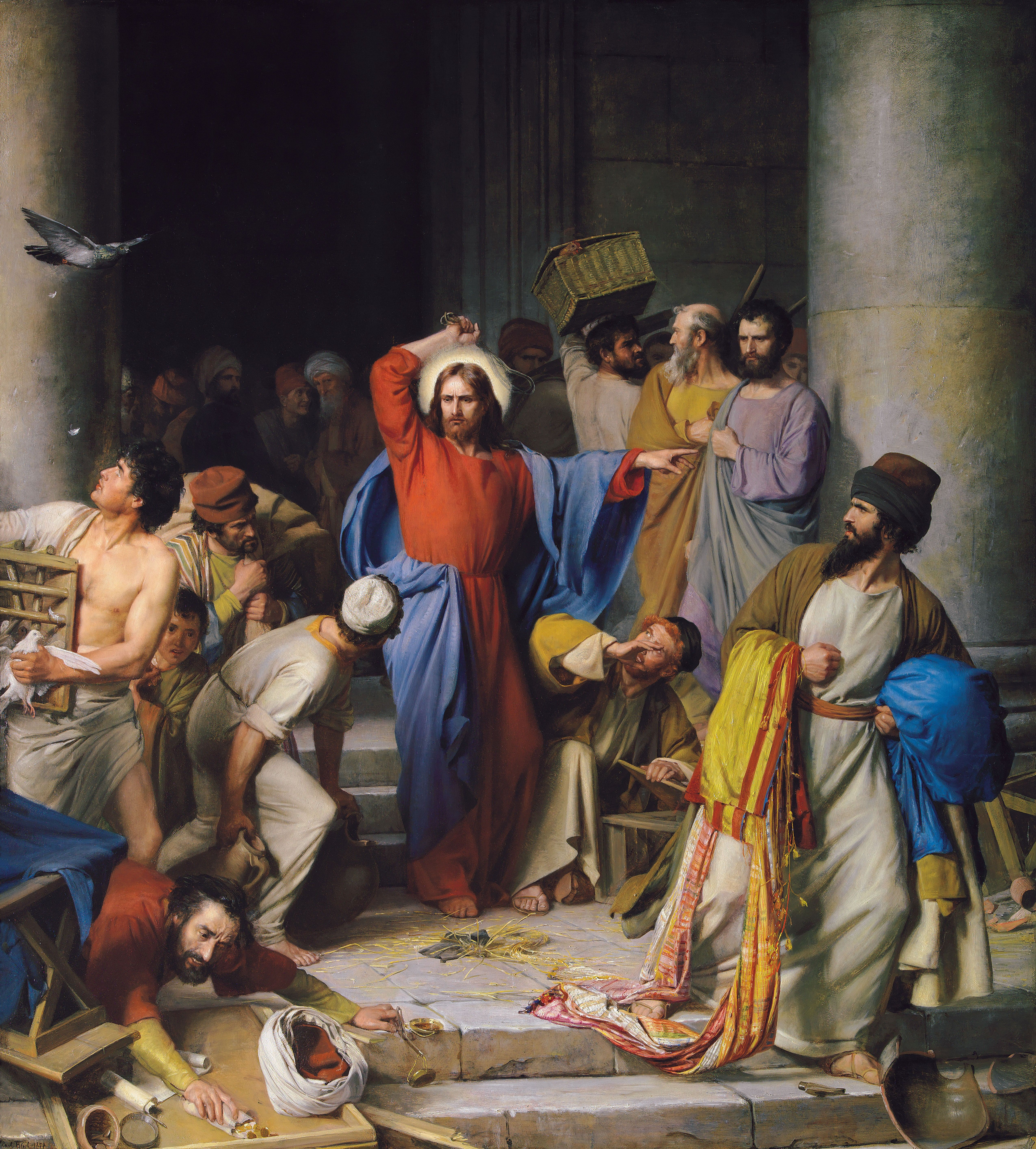 Jesus Cleansing the Temple, by Carl Heinrich Bloch (62163); GAK 224; GAB 51; Primary manual 7-09; Matthew 21:12–15; Mark 11:15–17; Luke 19:45–46; John 2:13–16