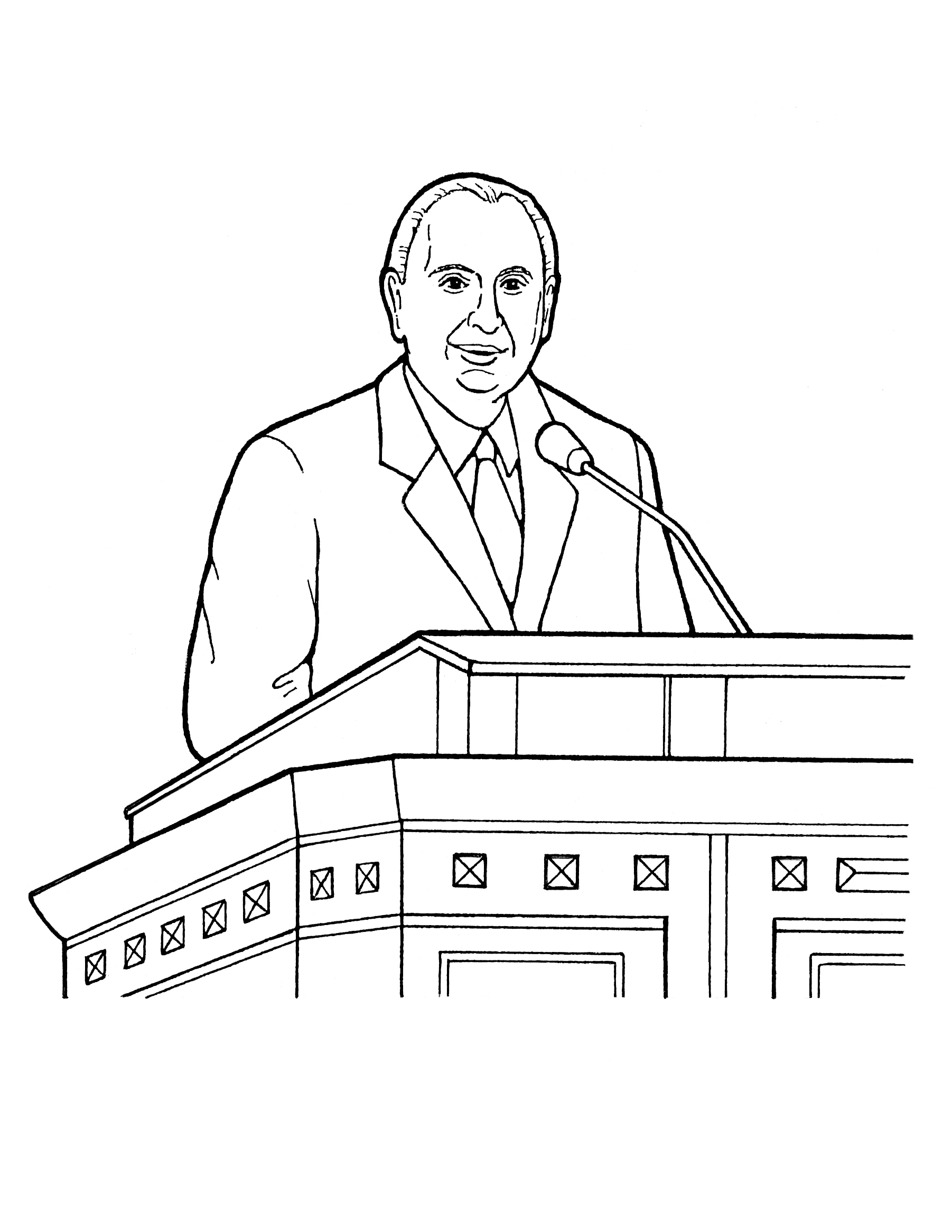 An illustration of Thomas S. Monson speaking at general conference.
