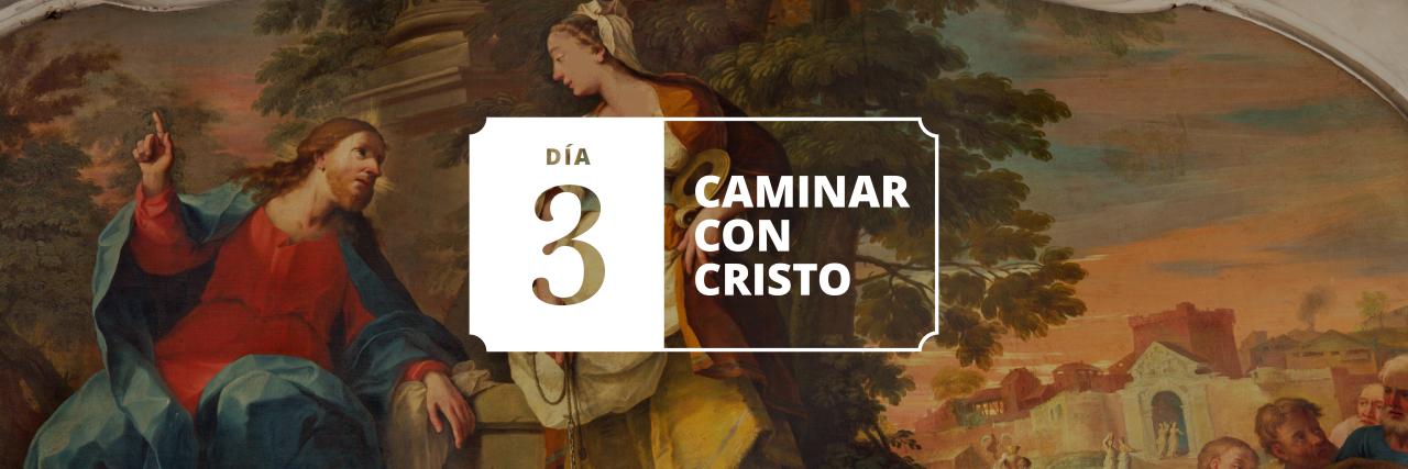 Pintura de Jesucristo y la señora en el pozo de agua