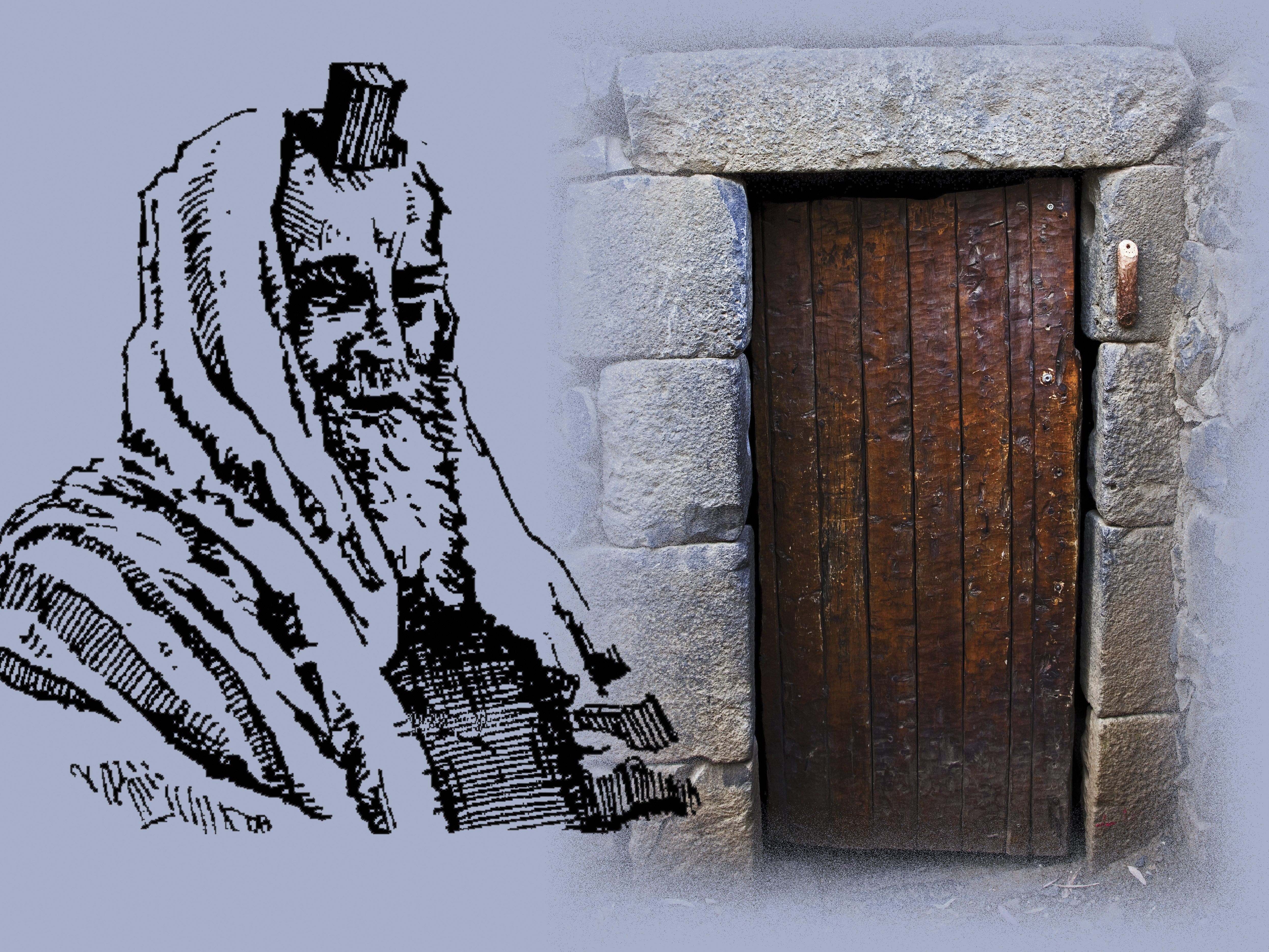 A composite image of a drawing of a man wearing a phylactery next to a photograph of a doorway with a mezuzah attached.