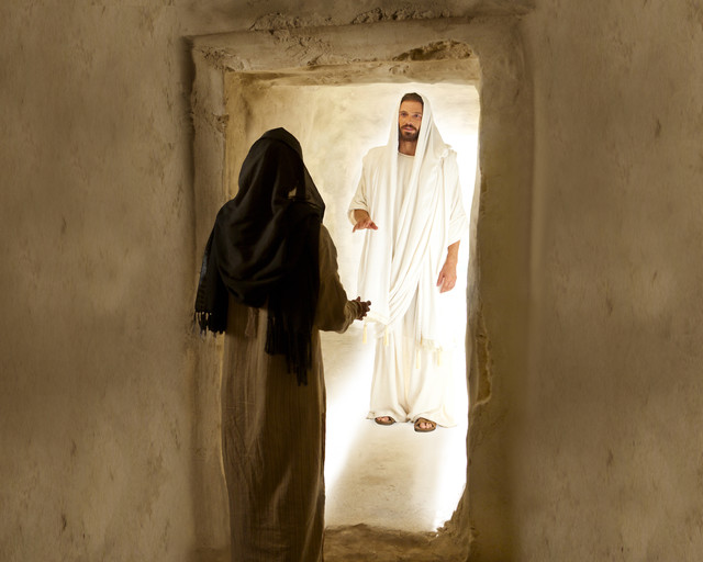 Mary Magdalene speaks with Christ after His Resurrection.