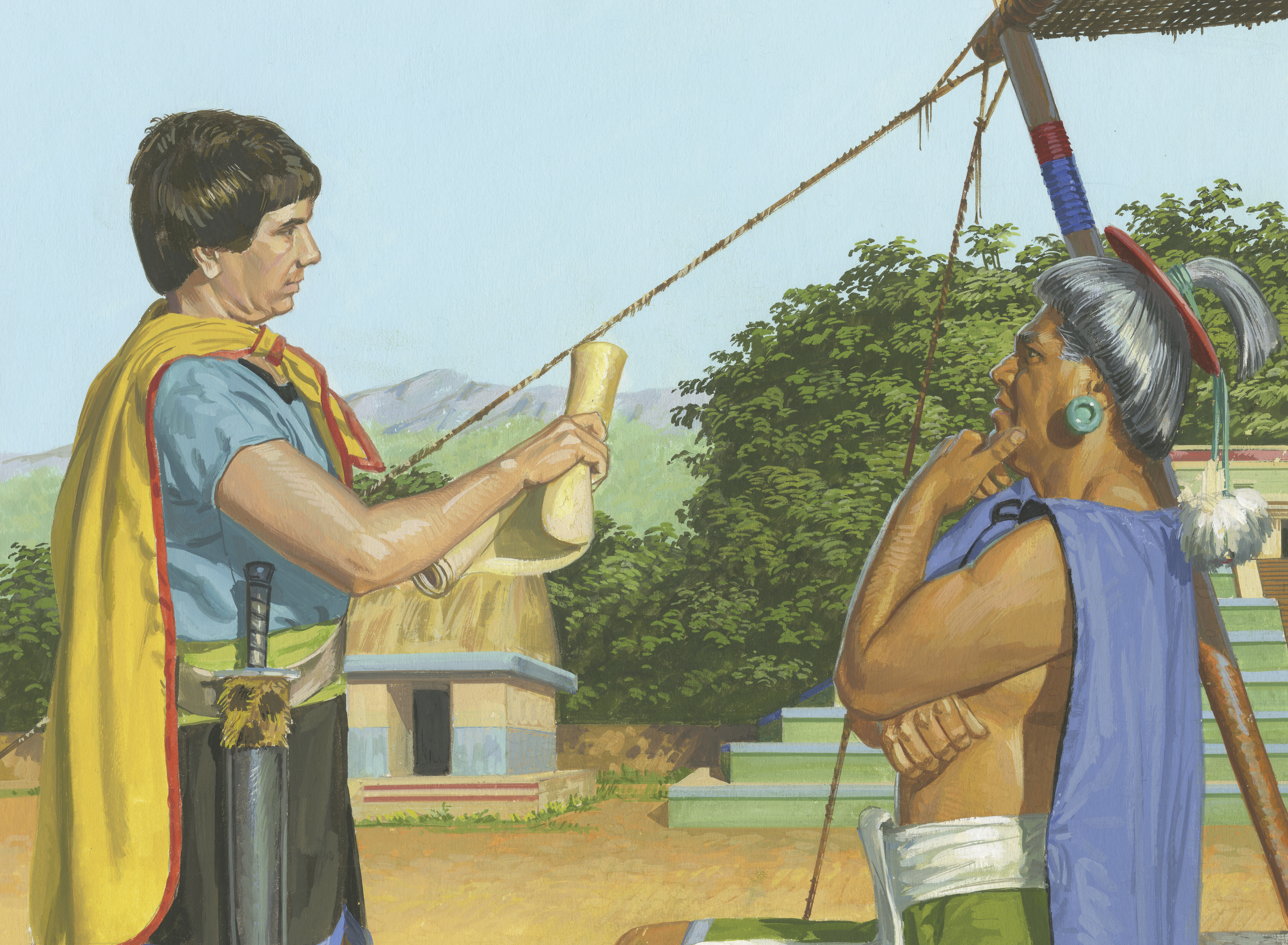 A painting by Jerry Thompson depicting Aaron reading the scriptures to Lamoni's father; Primary manual 4-32